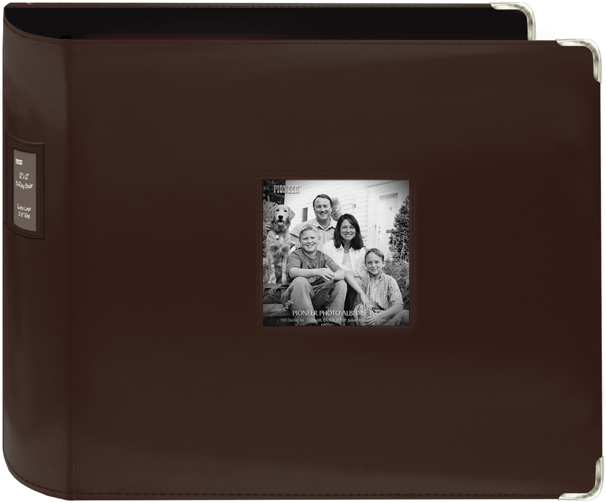 Pioneer 3-Ring Sewn Leatherette Album 12X12-Brown