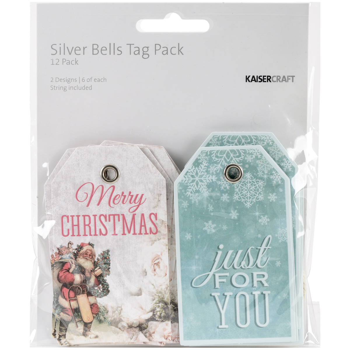 Silver Bells Tags W/String 2X3.25 12/Pkg-2 Double-Sided Designs/6 Each