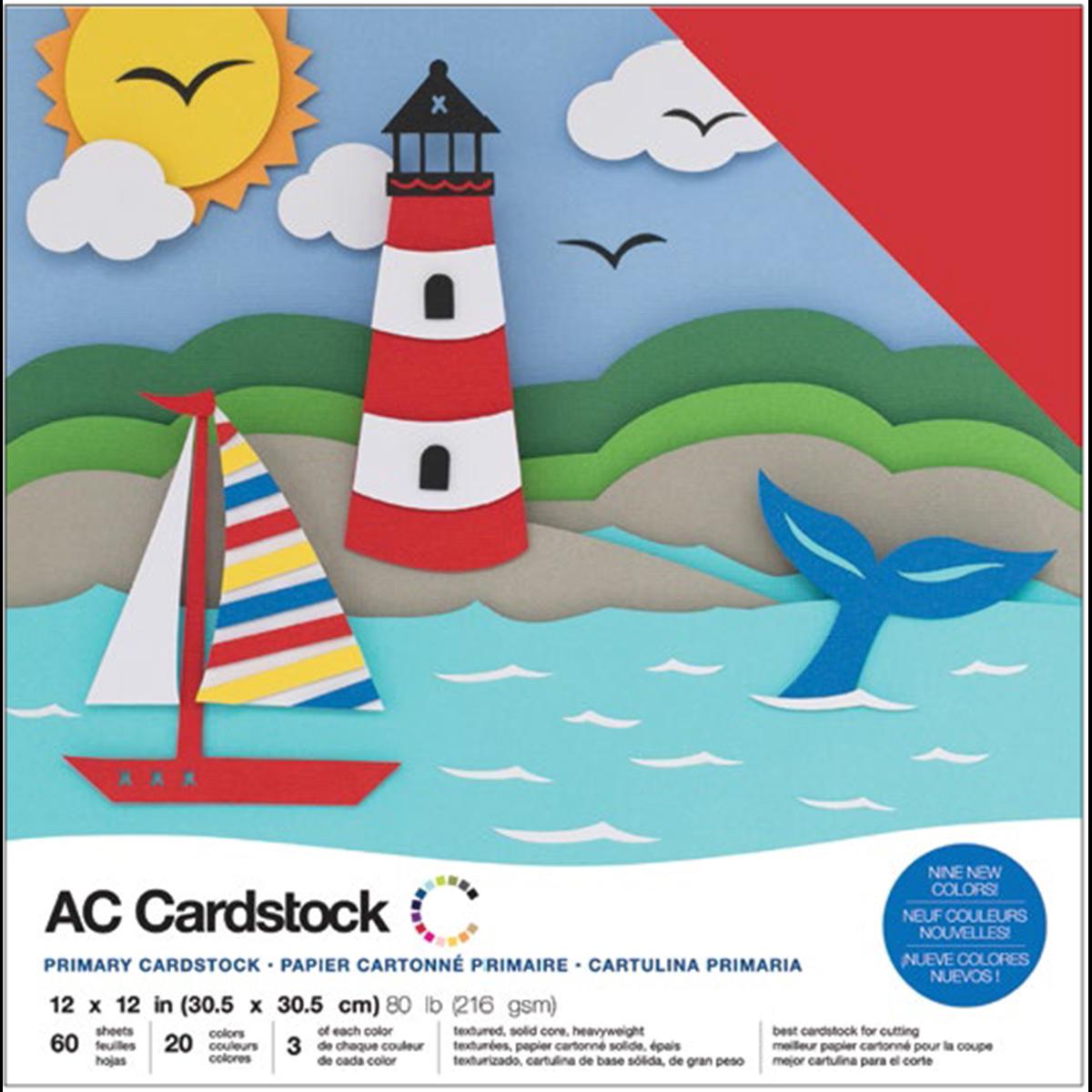 American Crafts Variety Cardstock Pack 12X12 60/Pkg-Primaries