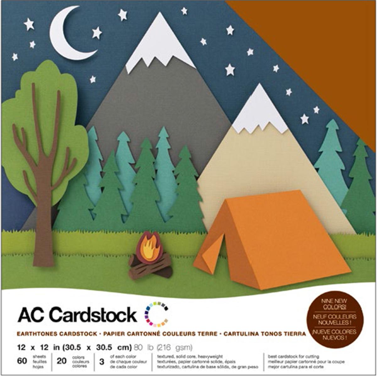 American Crafts Variety Cardstock Pack 12X12 60/Pkg-Earthtones