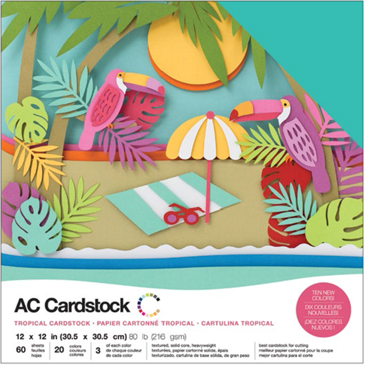 American Crafts Variety Cardstock Pack 12X12 60/Pkg-Tropical