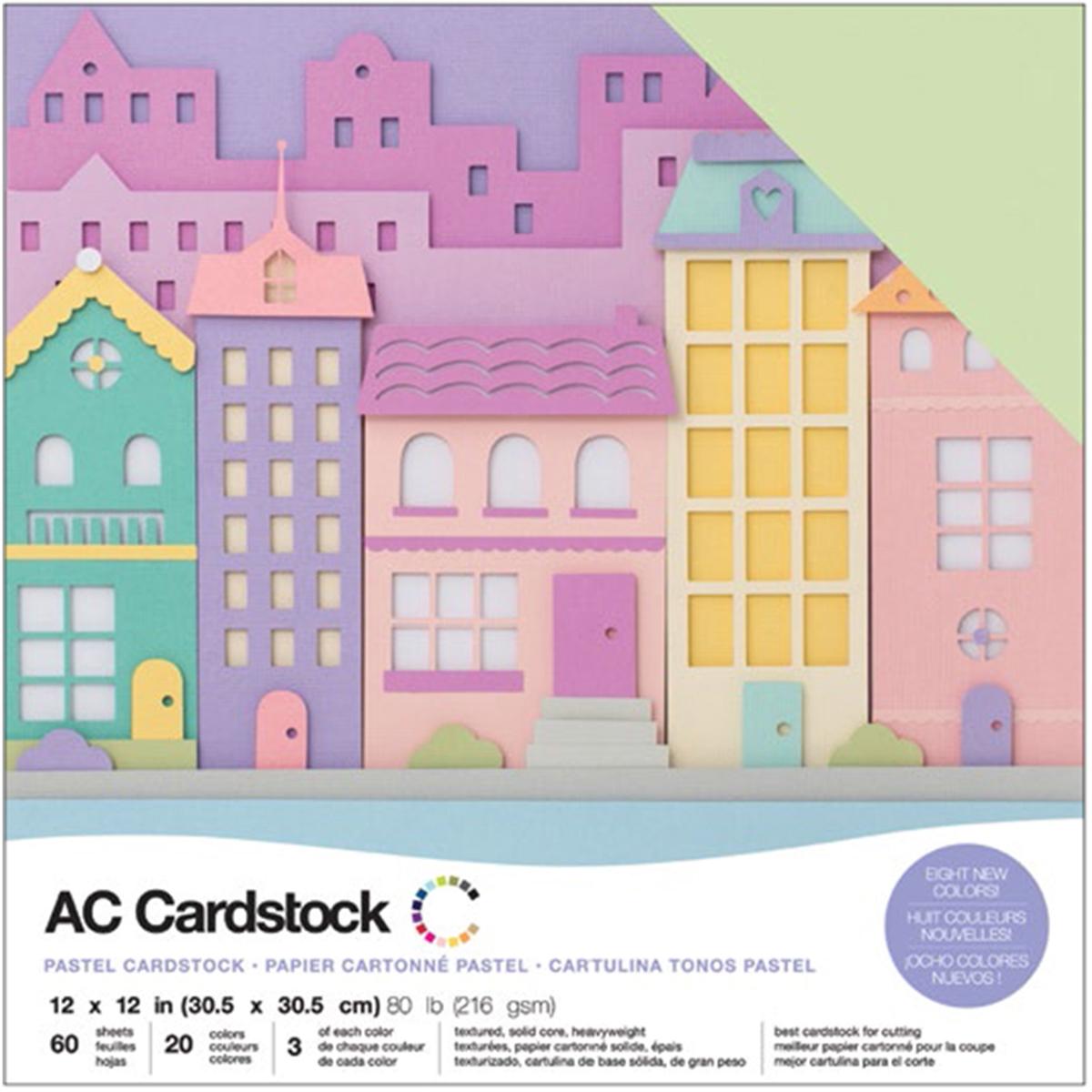 AC Cardstock - 12x12 Variety Pack, Pastels, 60/pkg