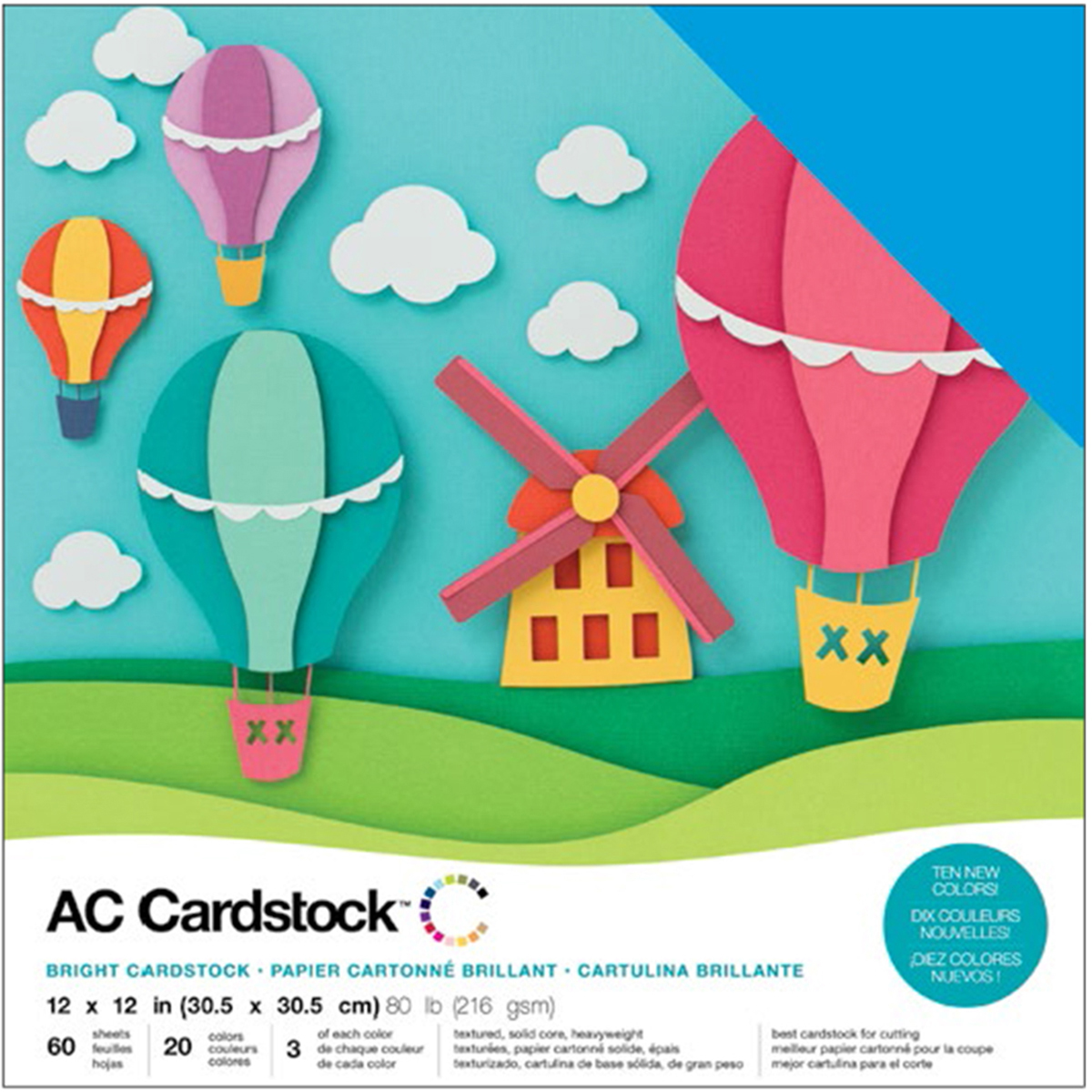 AC CARDSTOCK 12X12 Textured Solid Core - 60 Sheets - 20 Colors - 3 of each - Brights Collection