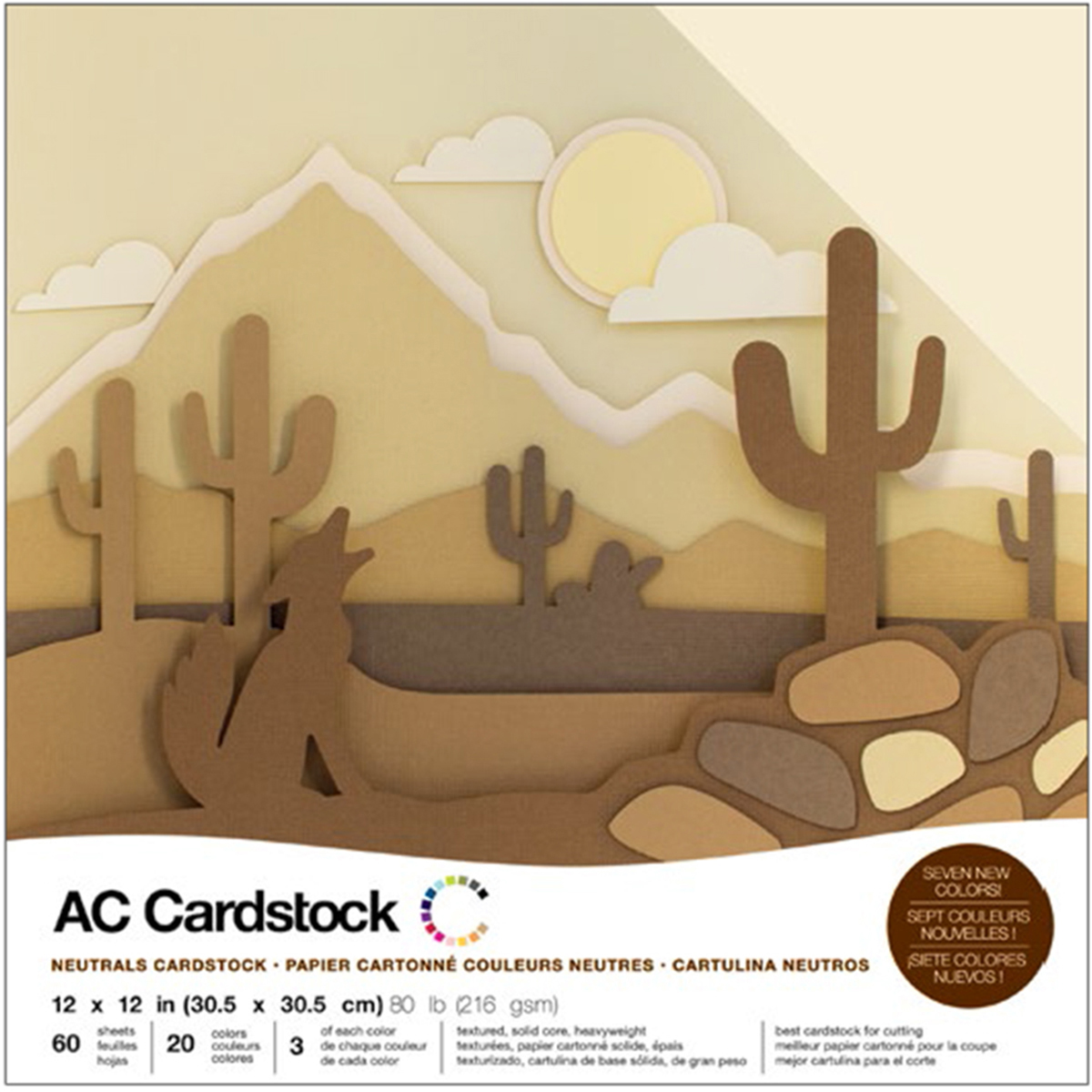 American Crafts Variety Cardstock Pack 12X12 60/Pkg-Neutrals