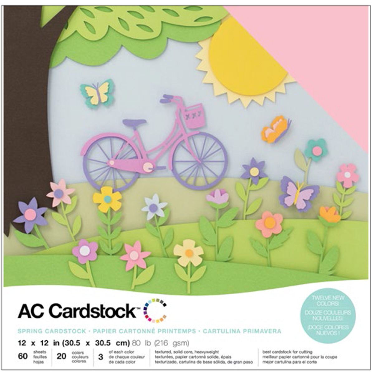 AC CARDSTOCK 12X12 Textured Solid Core - 60 Sheets - 20 Colors - 3 of each - Spring Collection