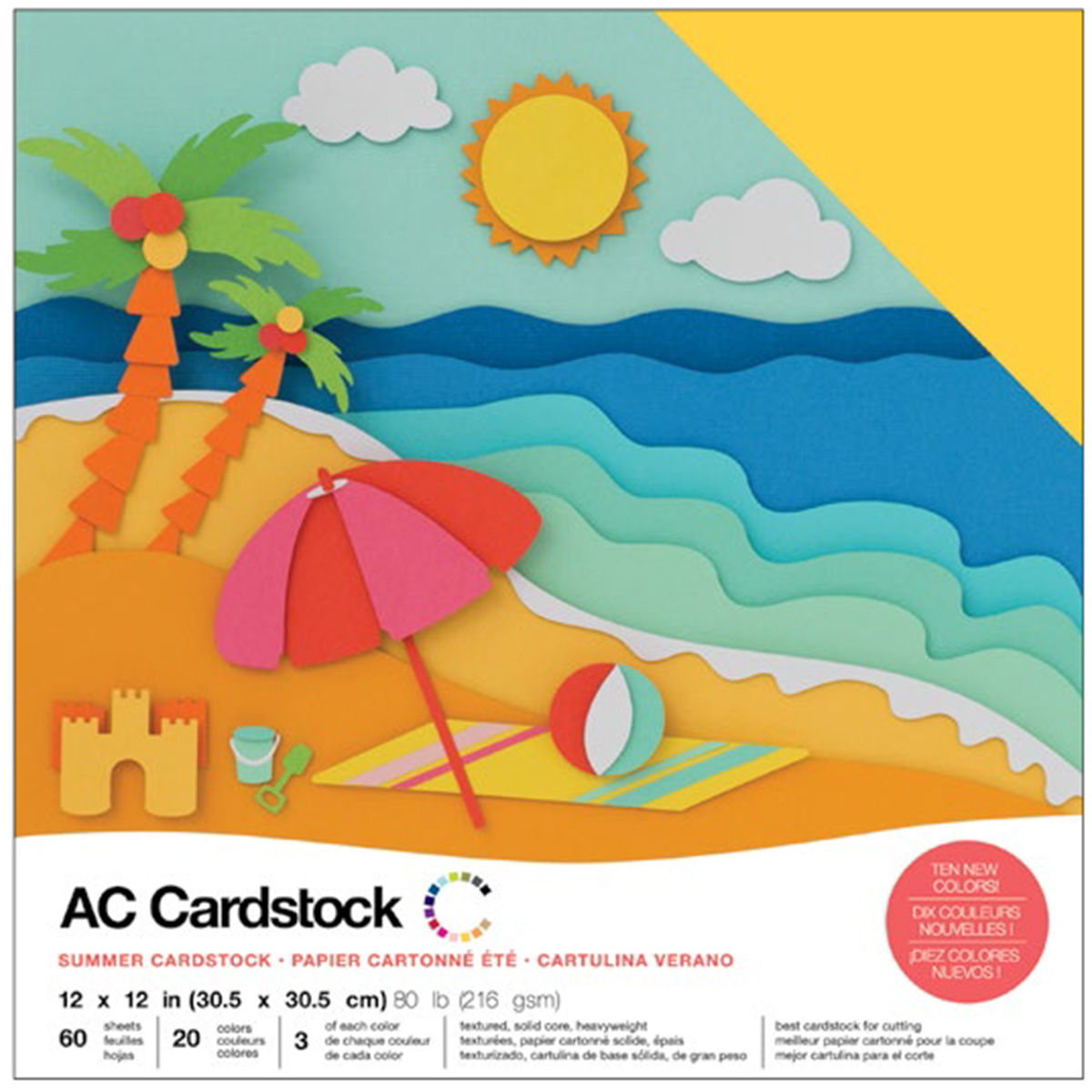 American Crafts Variety Cardstock Pack 12X12 60/Pkg-Summer