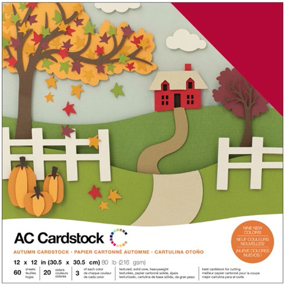 American Crafts Variety Cardstock Pack 12X12 60/Pkg-Autumn
