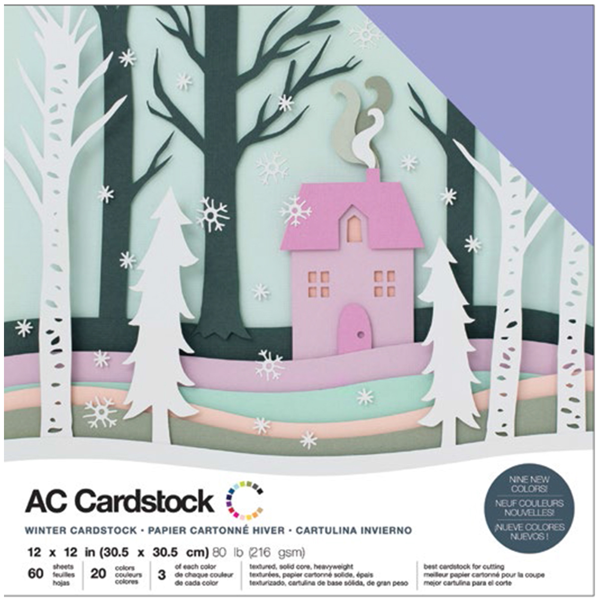 AC Cardstock - 12x12 Variety Pack, Winter, 60/pkg