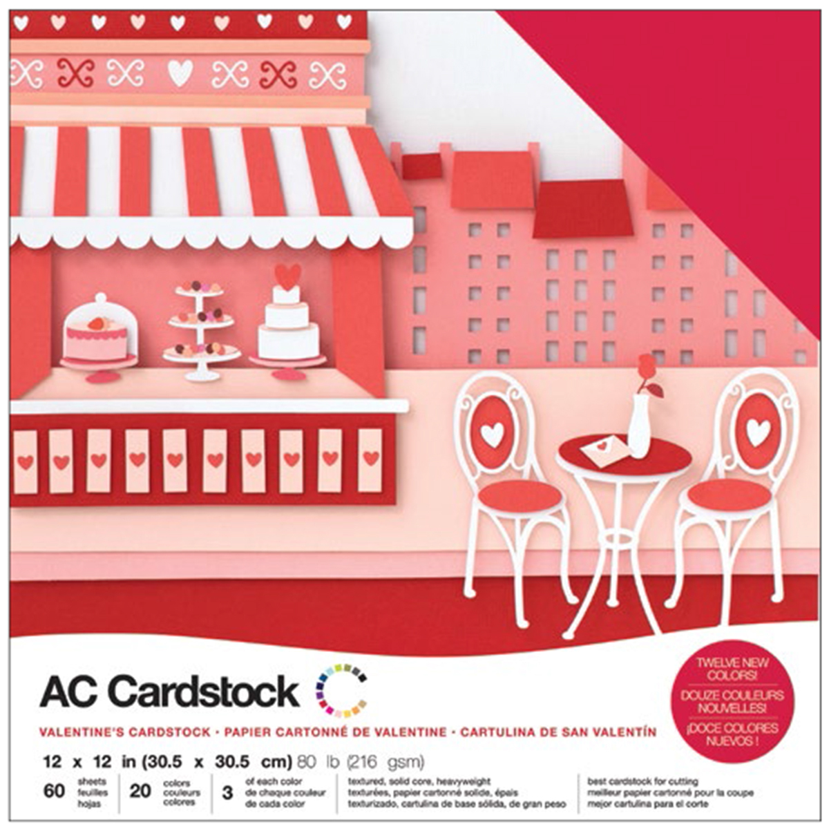 American Crafts Variety Cardstock Pack 12X12 60/Pkg-Valentines