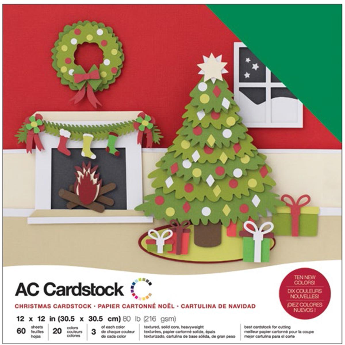 AC Cardstock - 12x12 Variety Pack, Christmas, 60/pkg