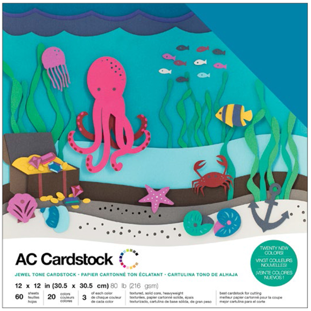 American Crafts Variety Cardstock Pack 12X12 60/Pkg-Jewel