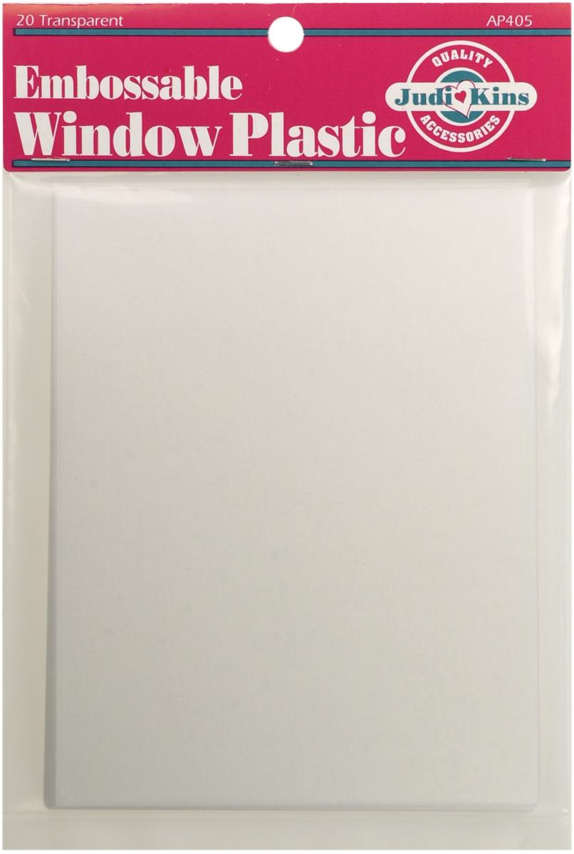 Judikins Embossable Window Plastic Sheets 4.25X5.5 20/Pkg-Clear