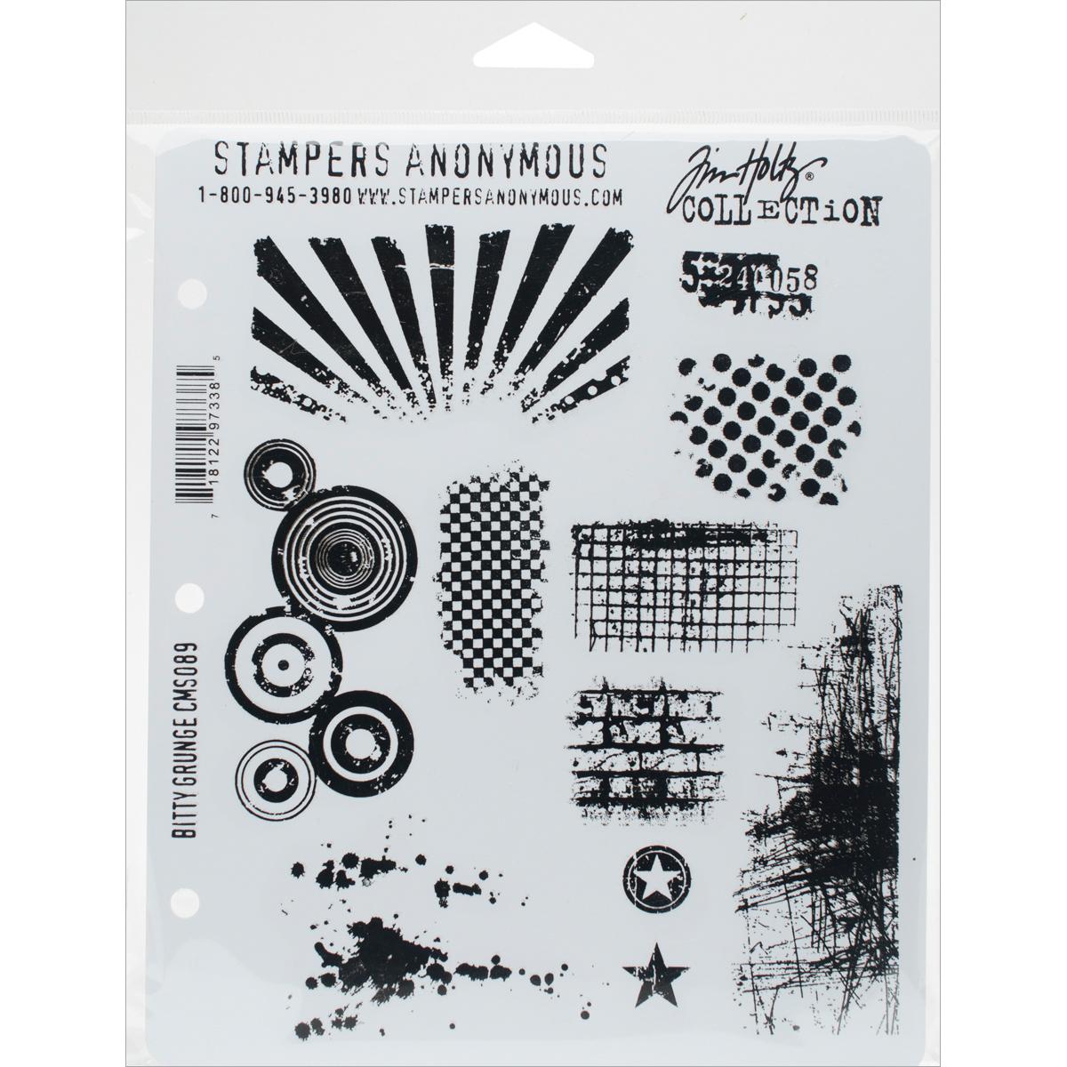 Tim Holtz Cling Stamps 7X8.5-Bitty Grunge