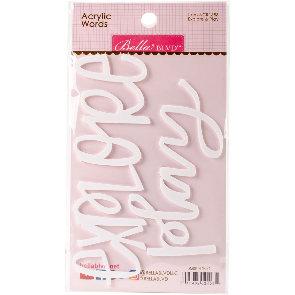 Acrylic White Script Words-Fearless & Strong