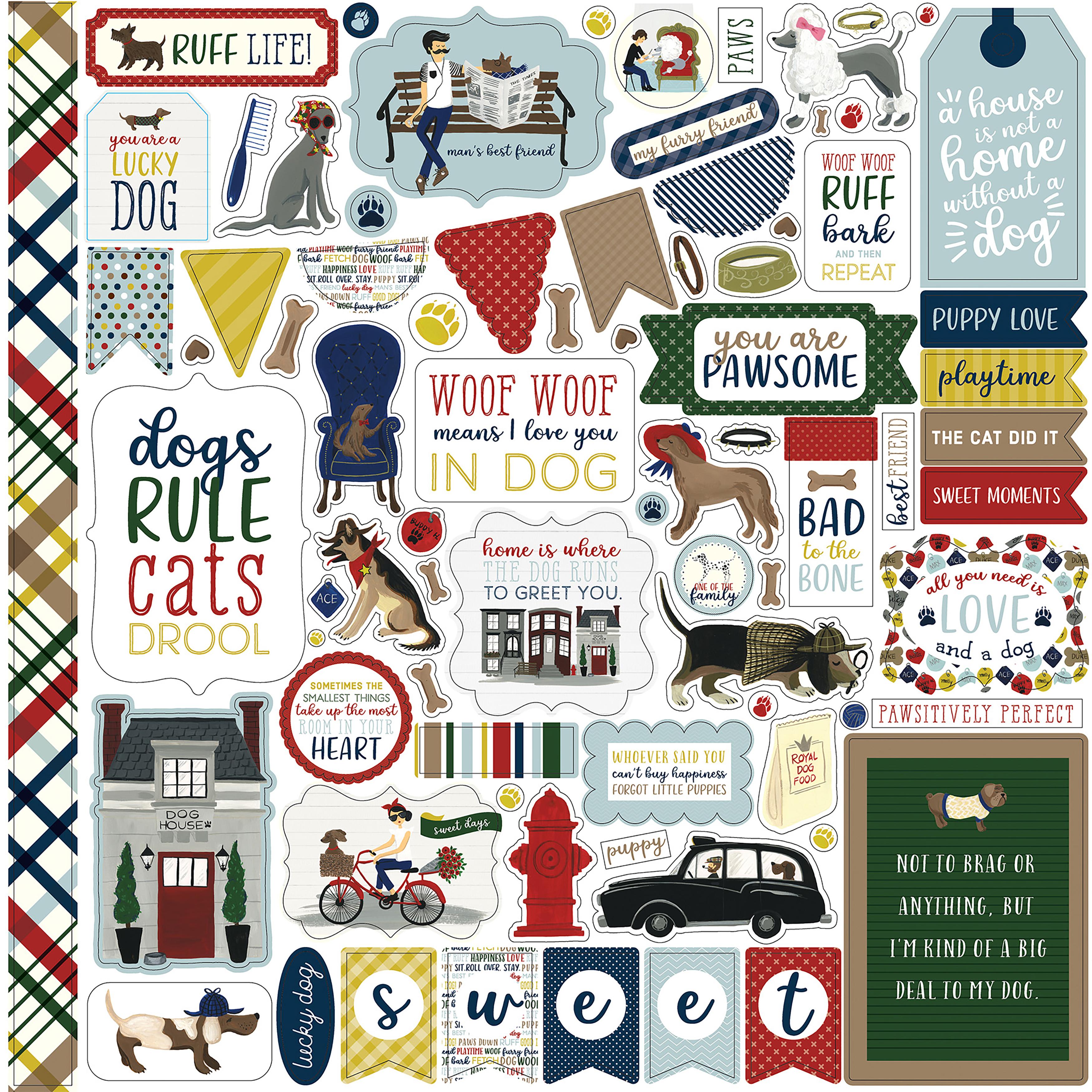 ^Echo Park - 12x12 Element Sticker Sheet - A Dog's Tail