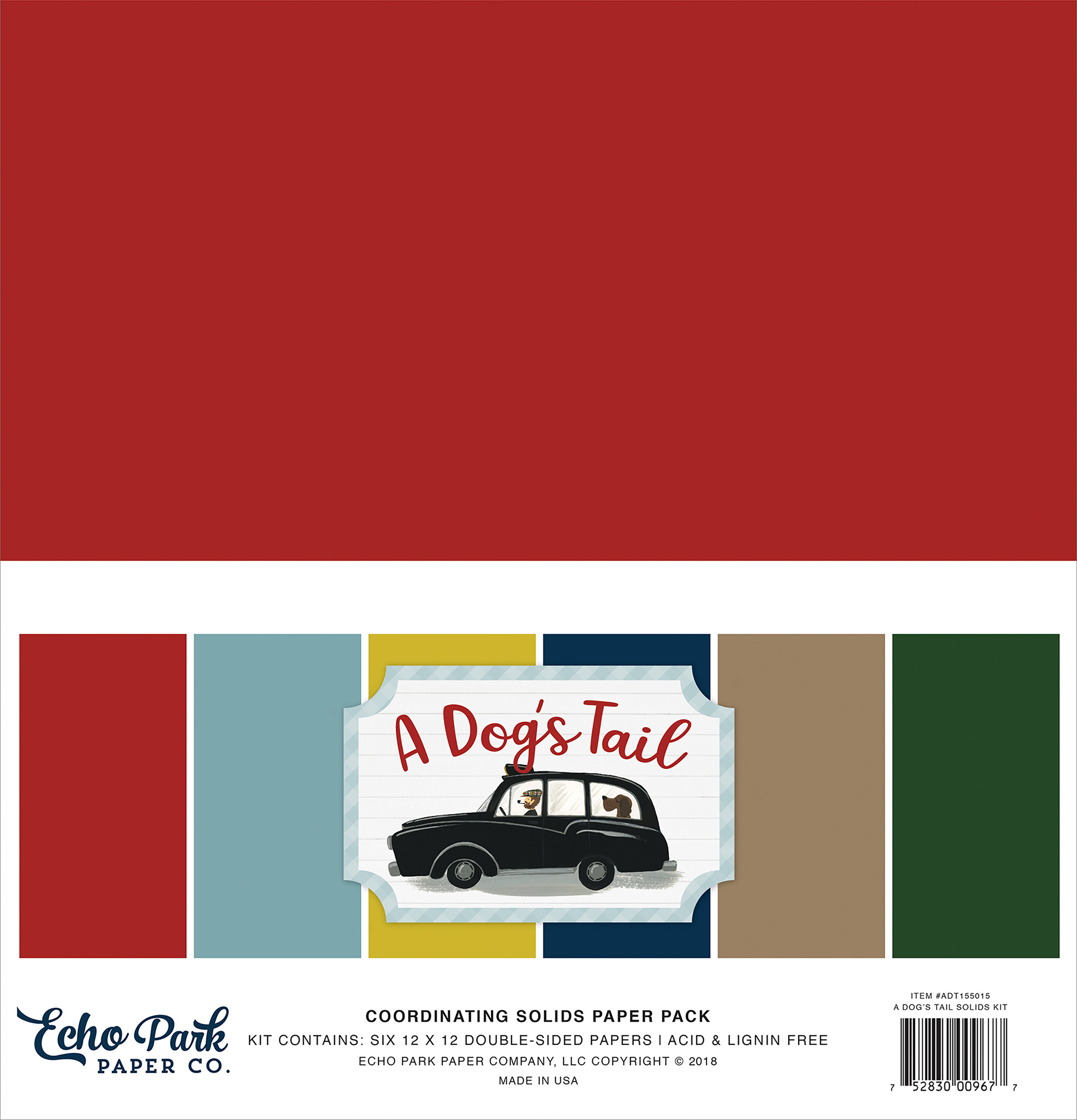 A Dog's Tail - Echo Park Double-Sided Solid Cardstock 12X12 6/Pkg 6 Colors