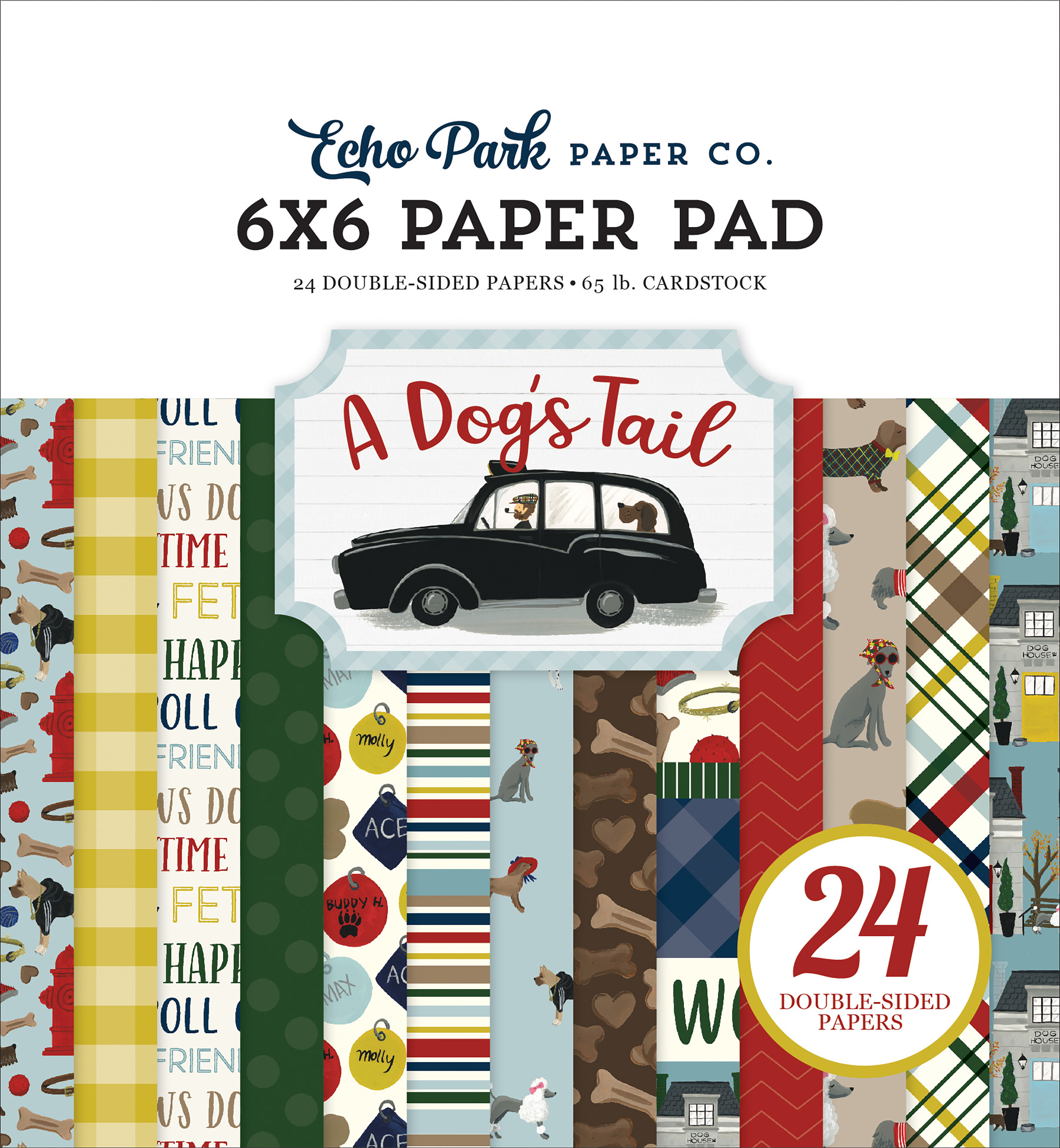 Echo Park Double-Sided Paper Pad 6X6 24/Pkg-A Dog's Tail, 12 Designs/2 Each