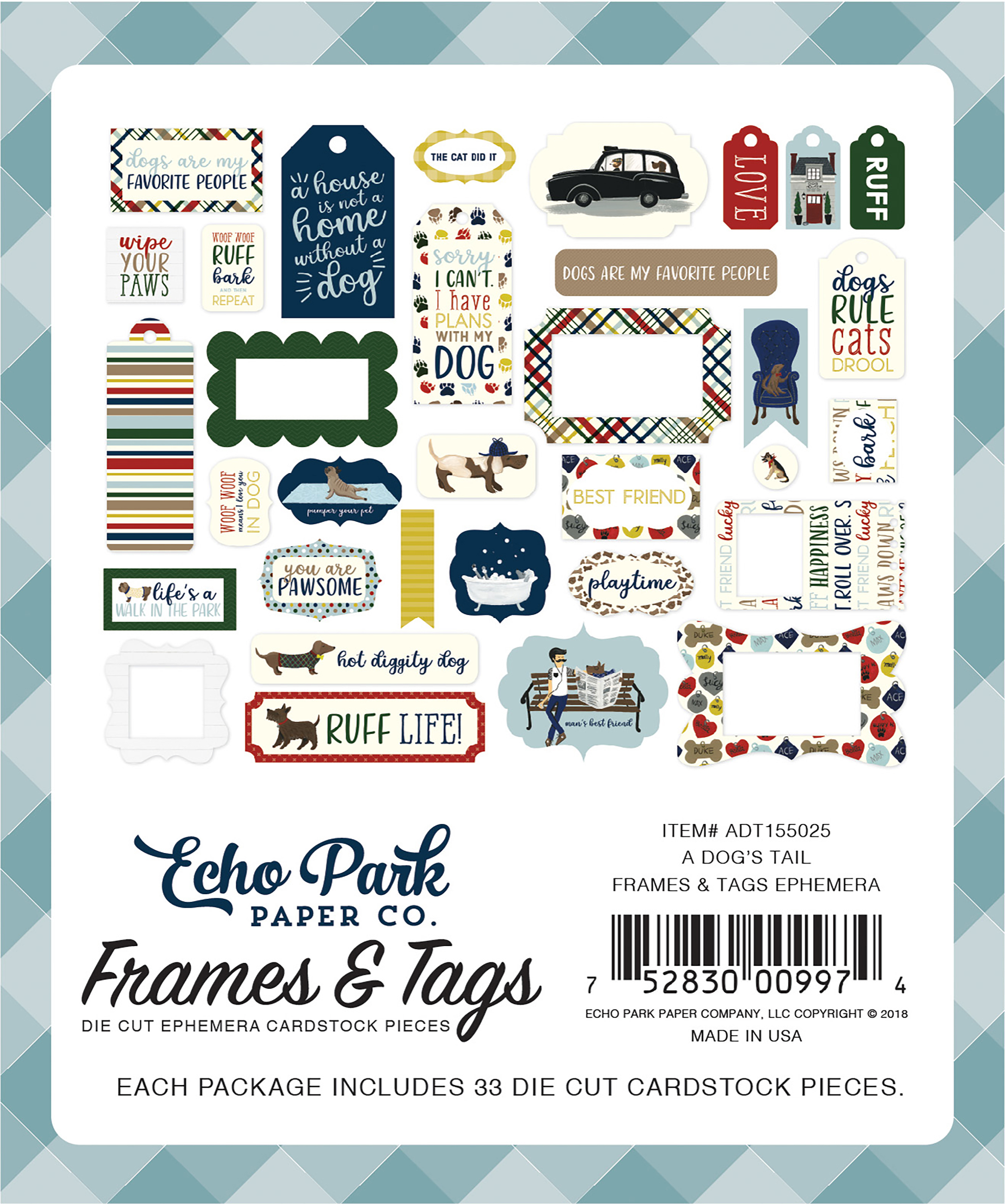 Echo Park - A Dog's Tail Collection - Frames & Tags