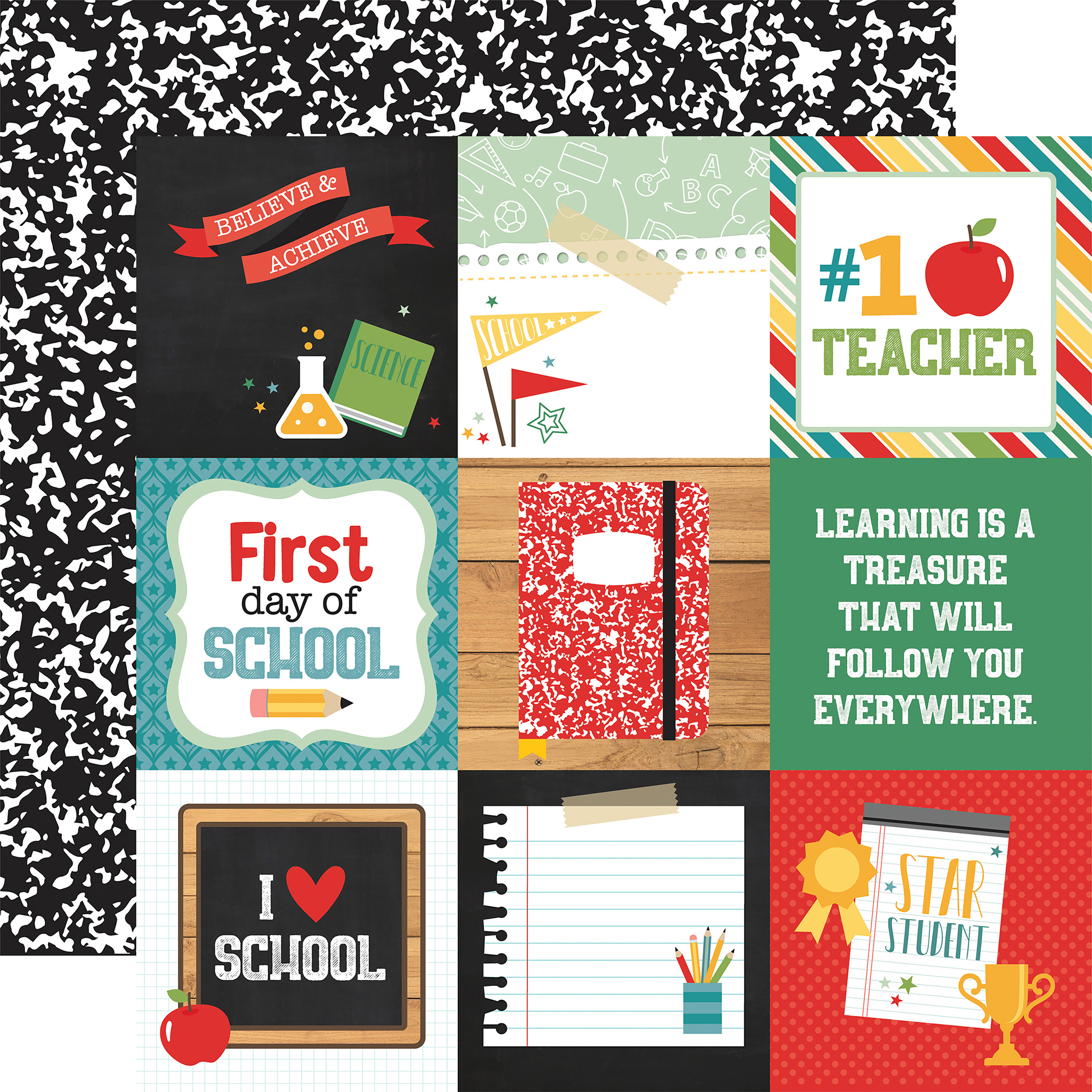 ^Echo Park - Back To School - 4x4 JOURNALING CARDS - 12x12 Double-Sided Paper