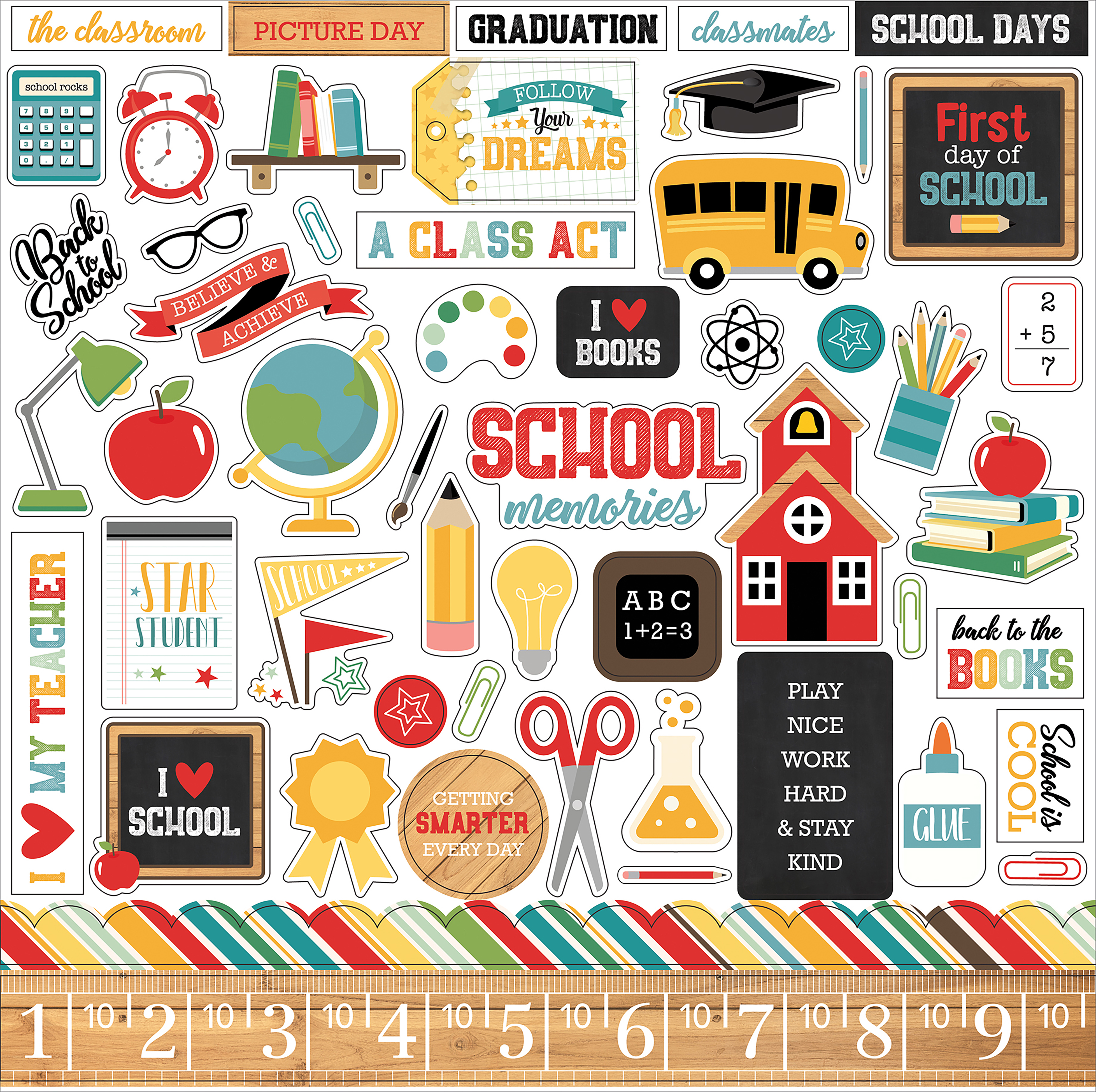 Back To School Cardstock Stickers 12X12-Elements