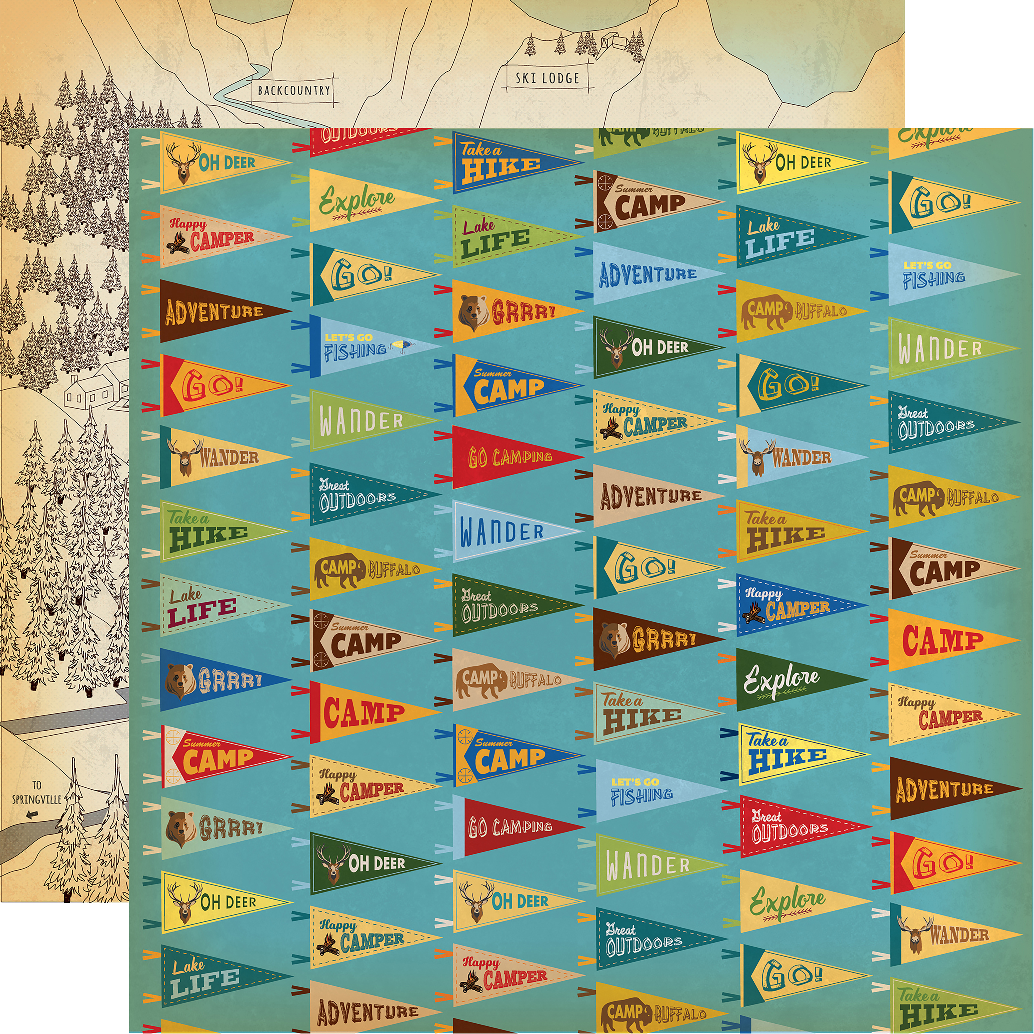 Gone Camping Double-Sided Cardstock 12X12-Camp Flags
