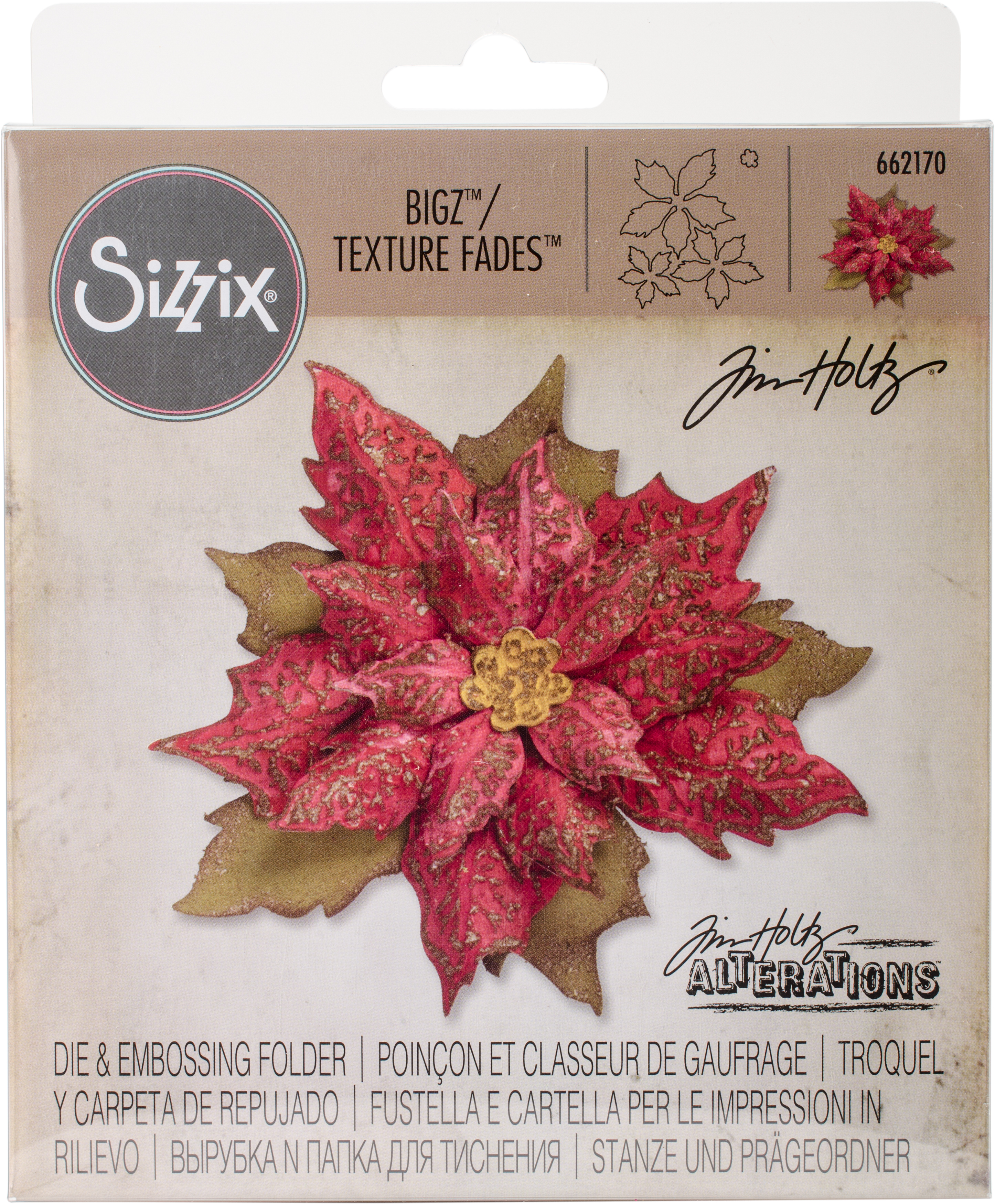 Sizzix Bigz Die W/Texture Fades By Tim Holtz-Layered Tattered Poinsettia 2.75X6.625