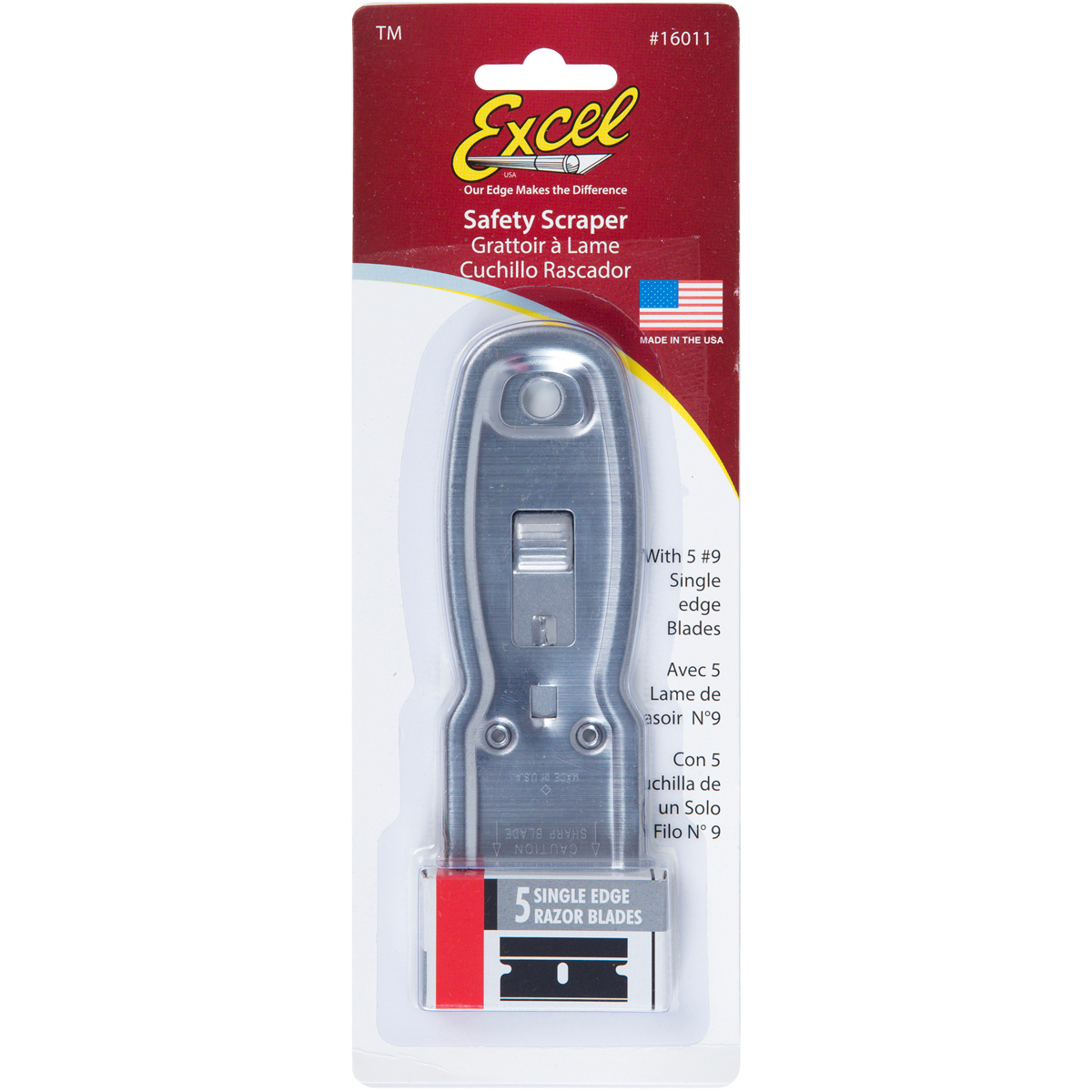 Excel K11 Metal Retractable Safety Scraper W/6 Blades-