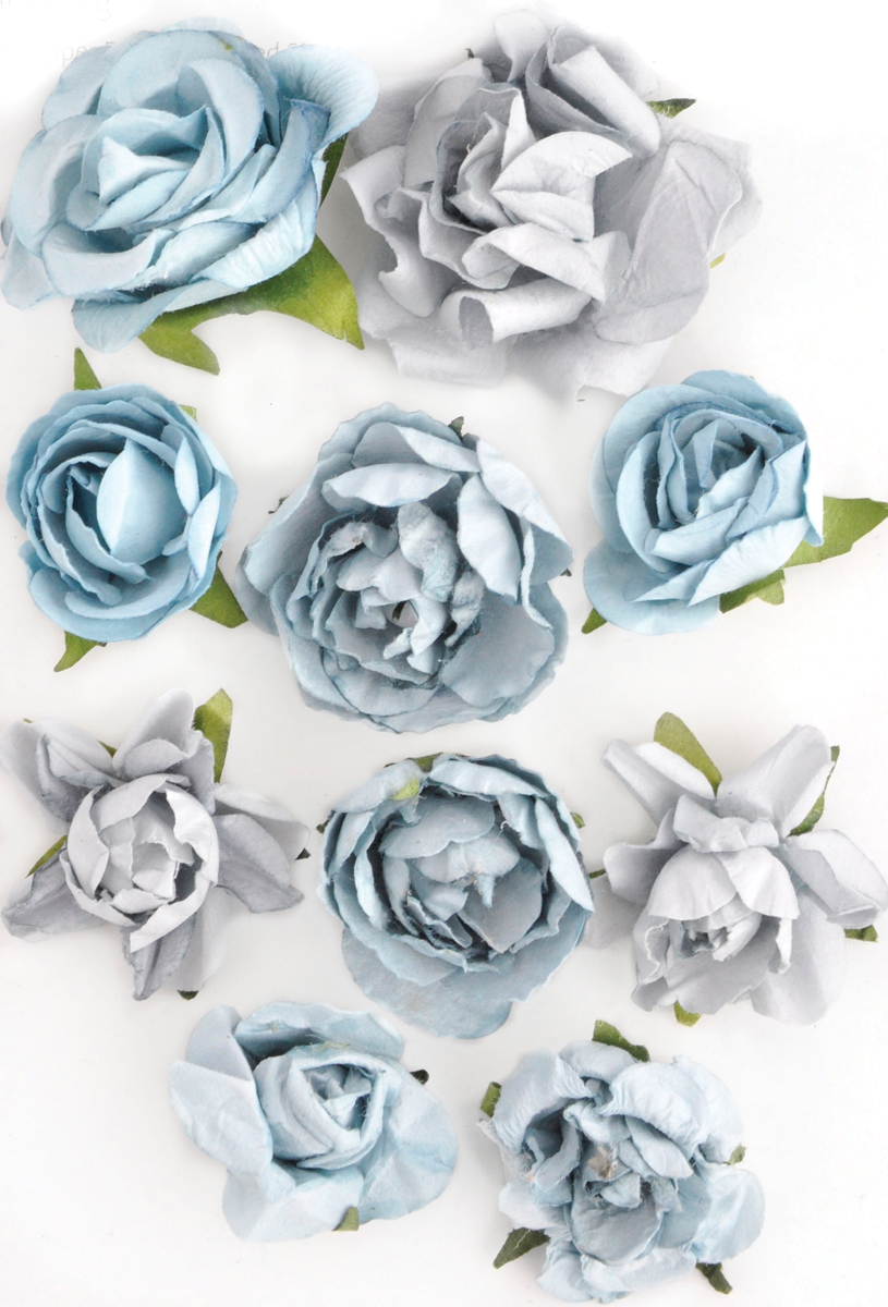 Kaisercraft Paper Blooms 10/Pkg-Iceberg, 1 - 1.5