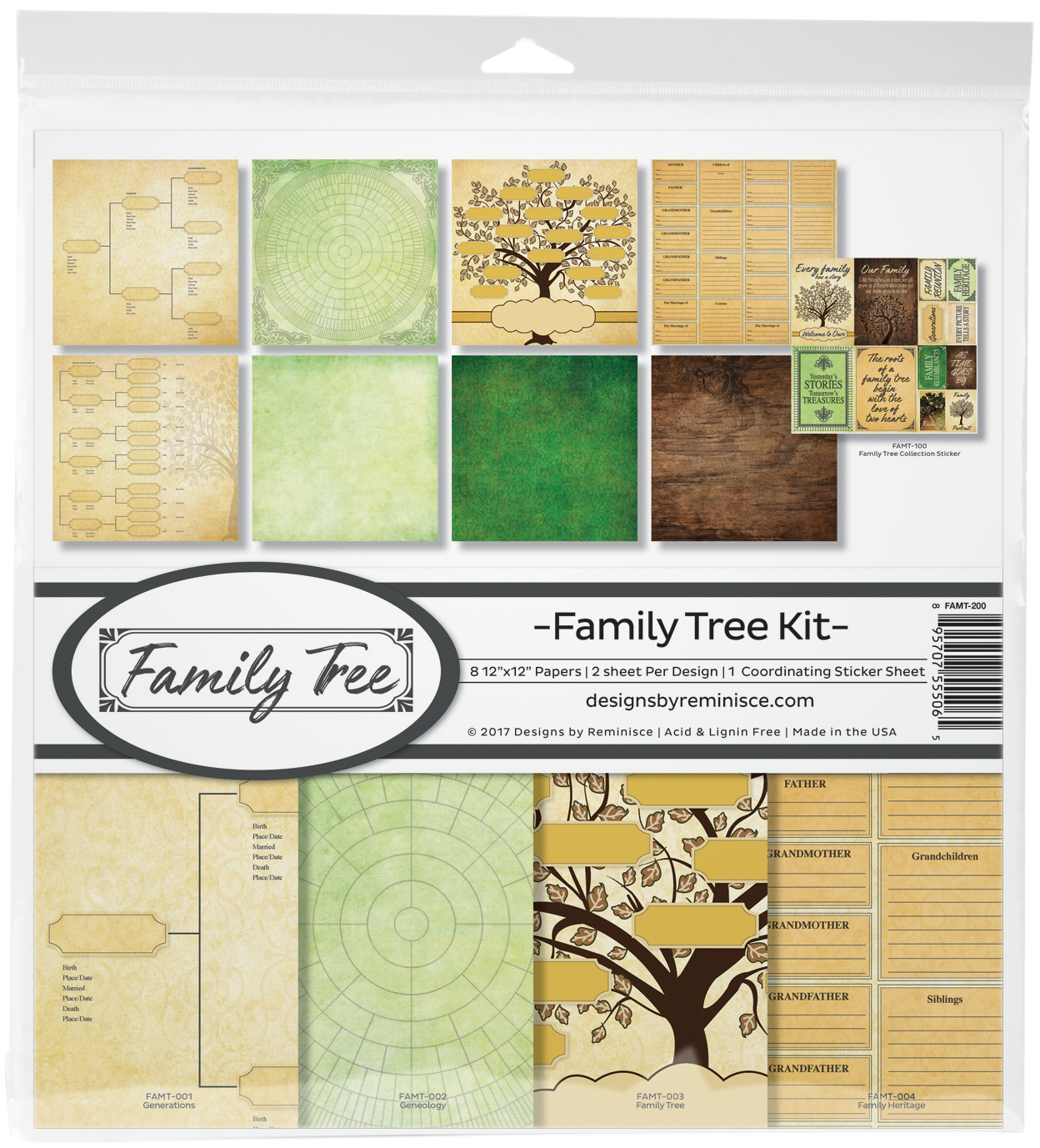 Reminisce Collection Kit 12'x12' - Family Tree