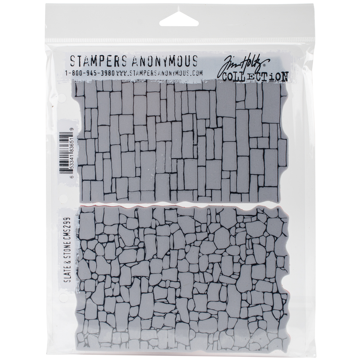 Tim Holtz Cling Stamps 7X8.5-Slate & Stone