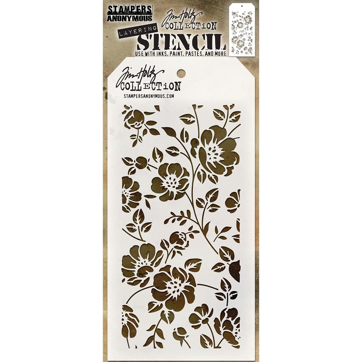 Tim Holtz Layered Stencil 4.125X8.5-Floral