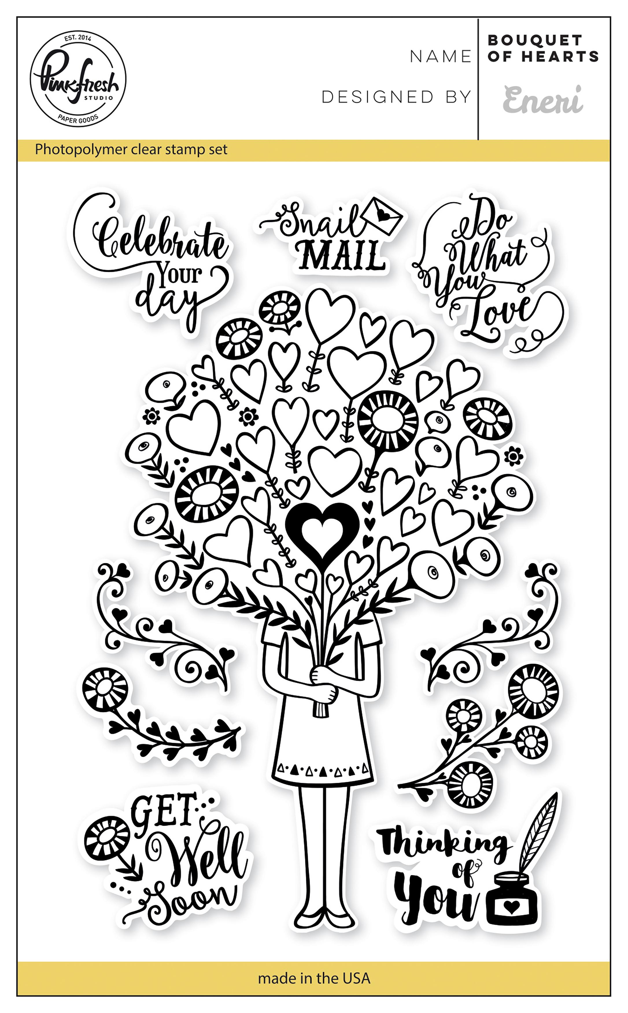 Pinkfresh Studio Clear Stamp Set 4X6-Bouquet Of Hearts
