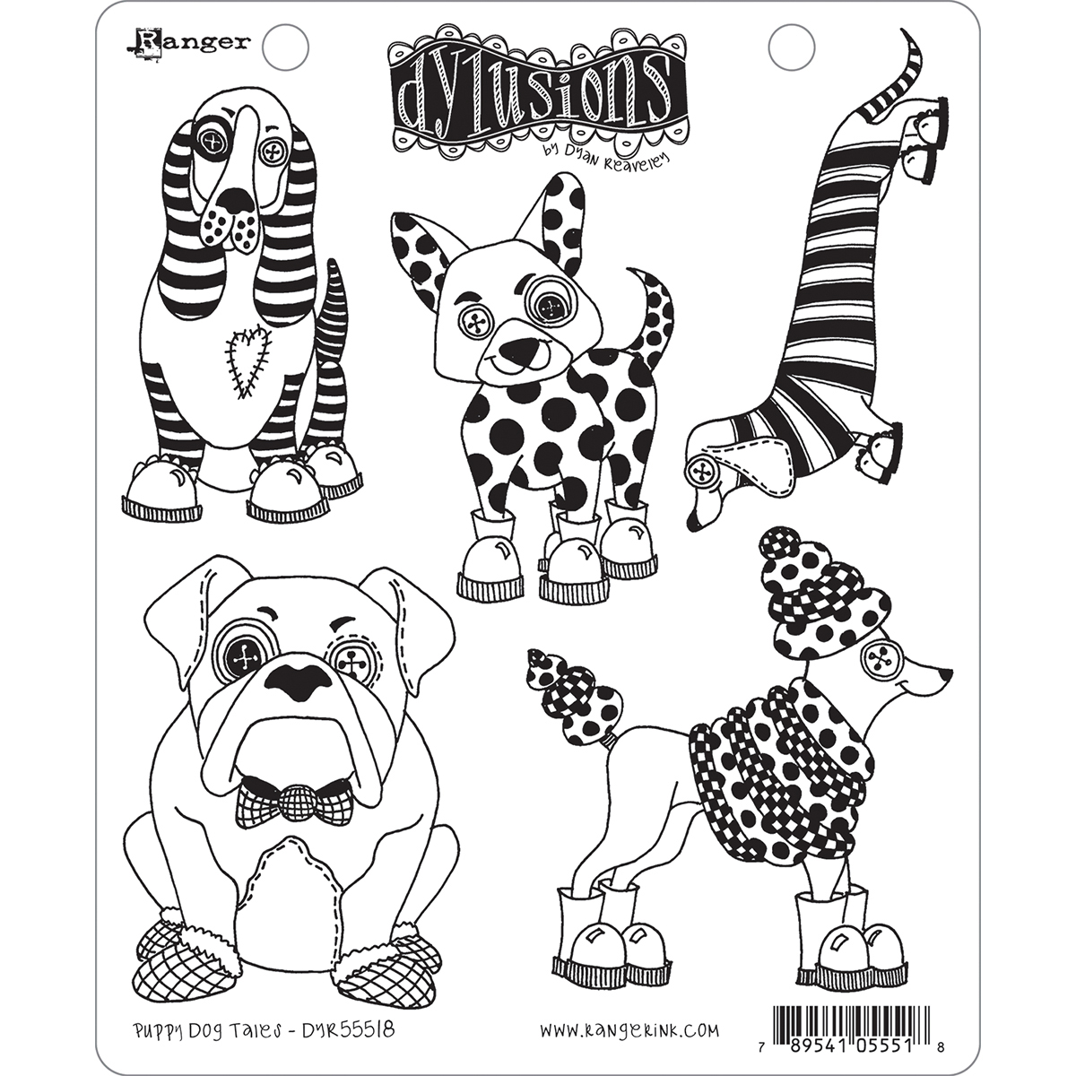 Dyan Reaveley's Dylusions Cling Stamp Collections 8.5X7-Puppy Dog Tales