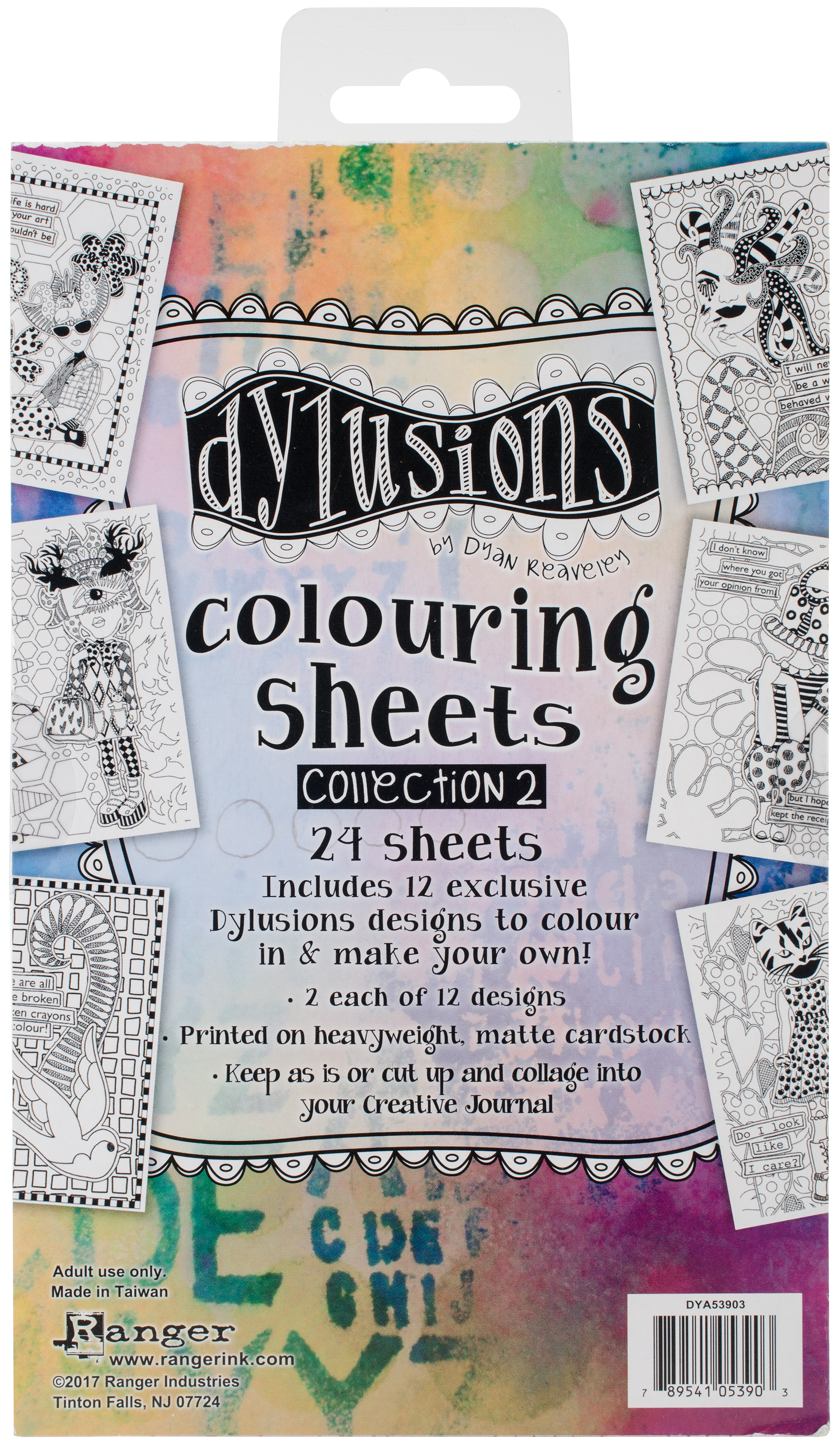 Dyan Reaveley's Dylusions Coloring Sheets #2 5X8-2 Each Of 12 Designs