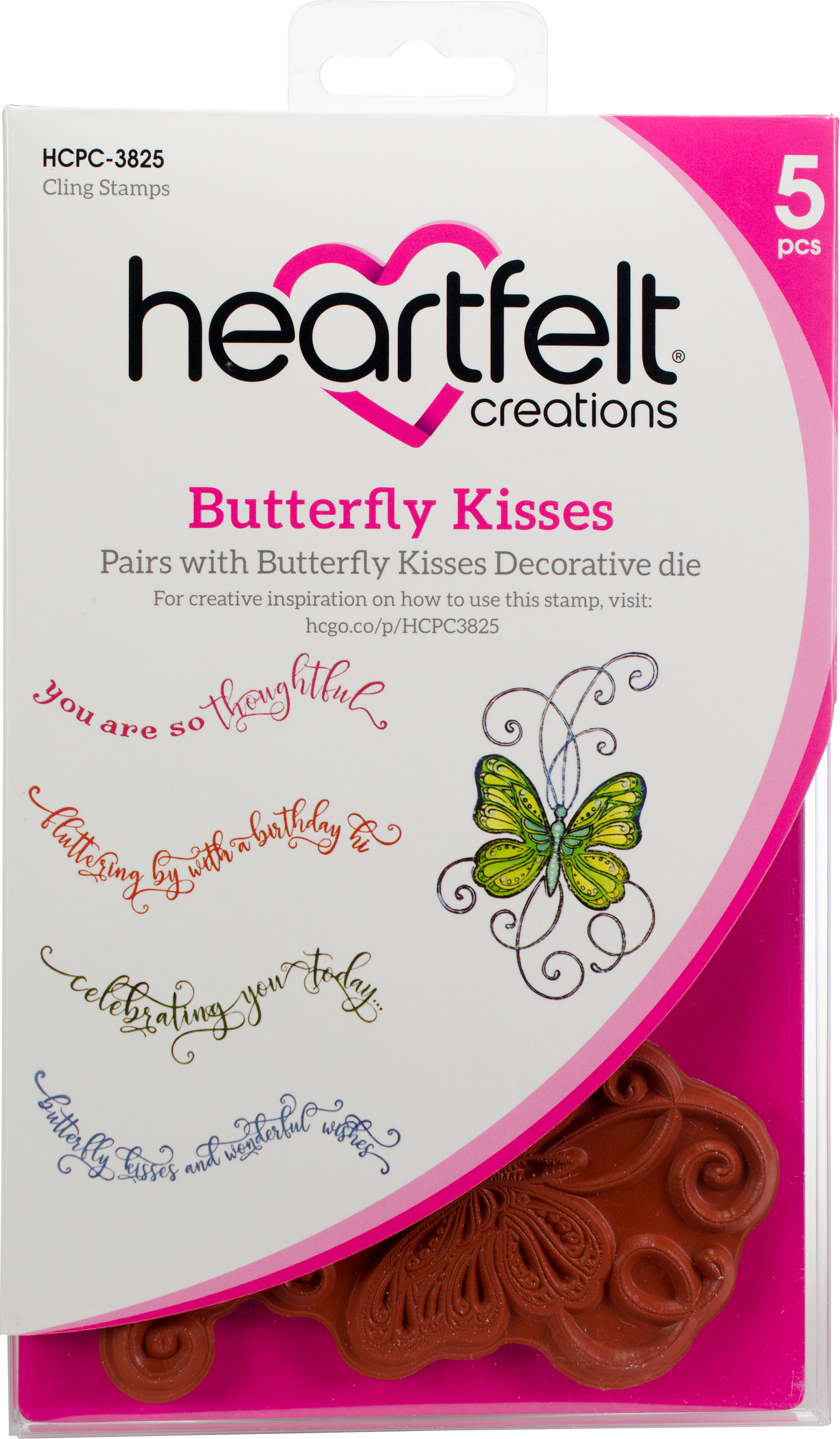 Heartfelt Creations Cling Rubber Stamp  and die Set 5X6.5-Butterfly Kisses