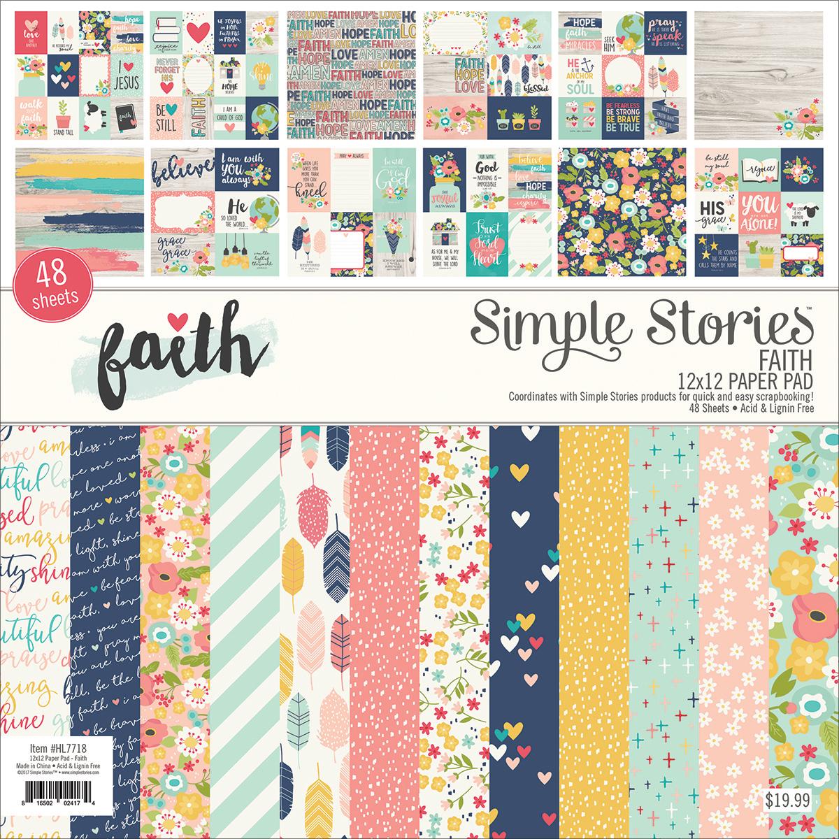 Faith 12x12 Paper Pad 48/Pkg, 24 Designs/2 Each - Simple Stories
