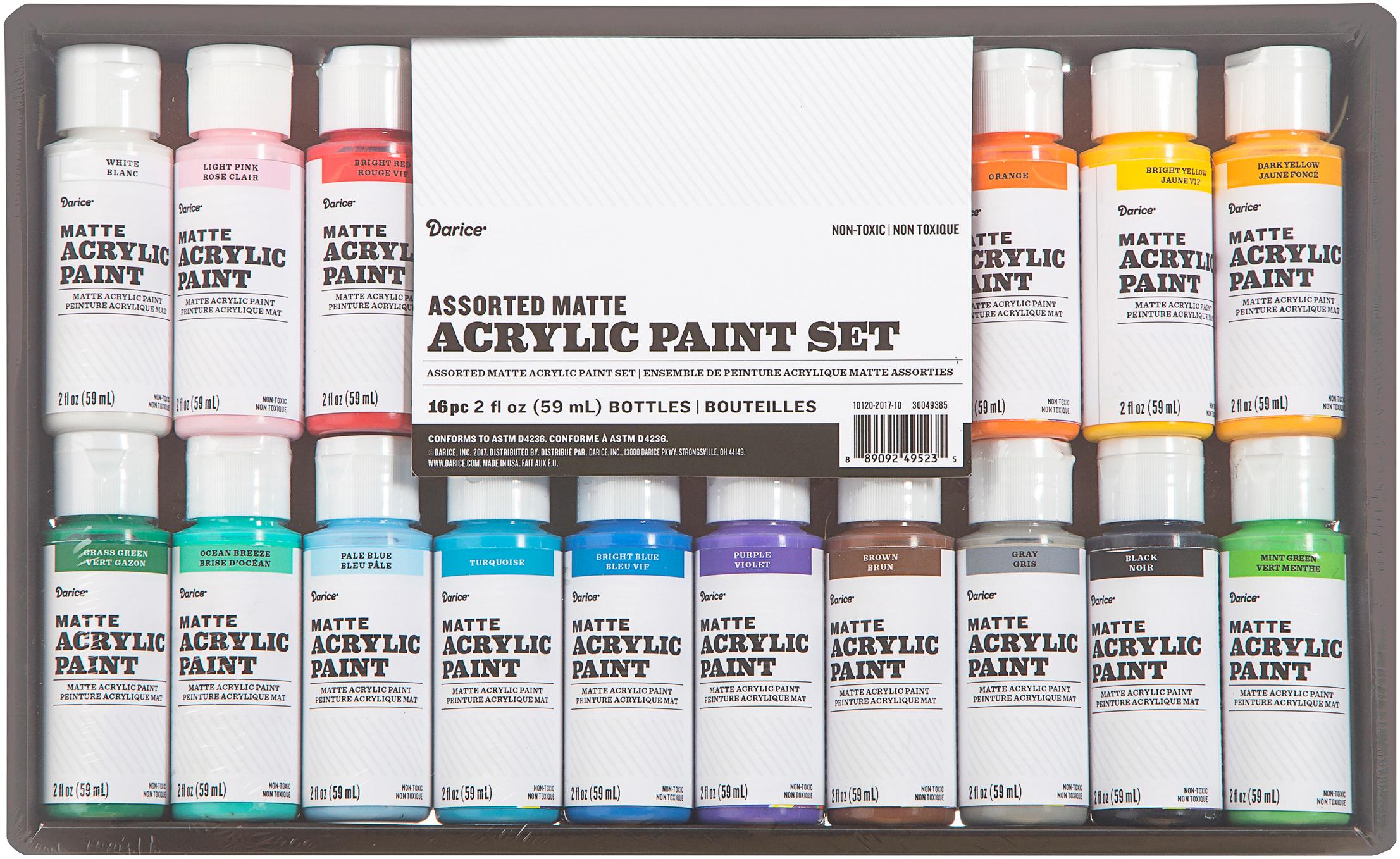 Acrylic Paint Set 2oz 16/Pkg-Matte