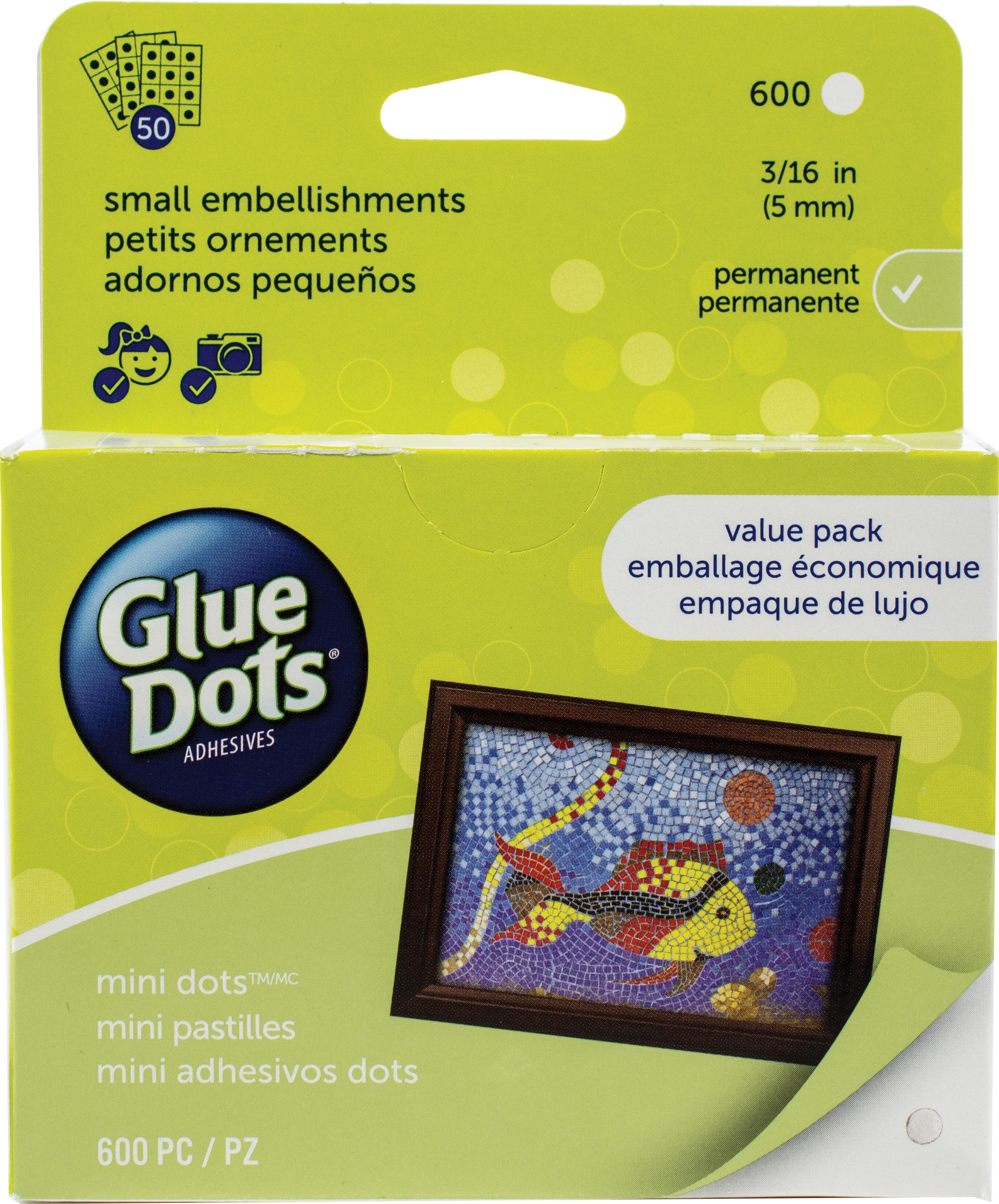 Glue Dots .1875 Mini Dot Sheets Value Pack-600 Clear Dots