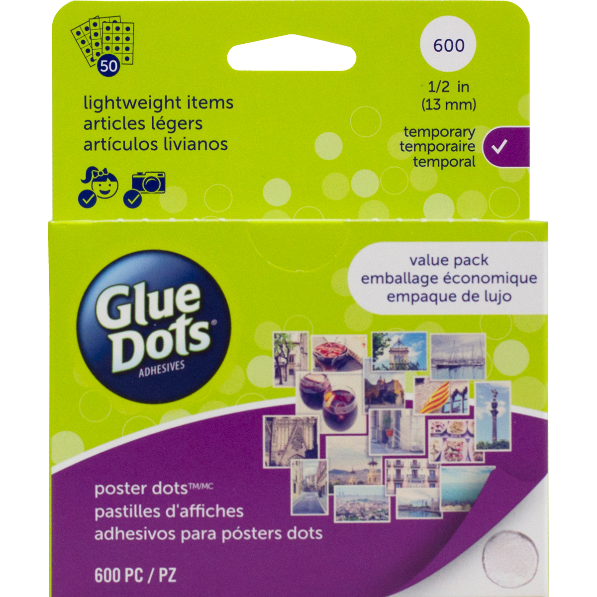 Glue Dots .5 Poster Dot Sheets Value Pack-600 Clear Dots