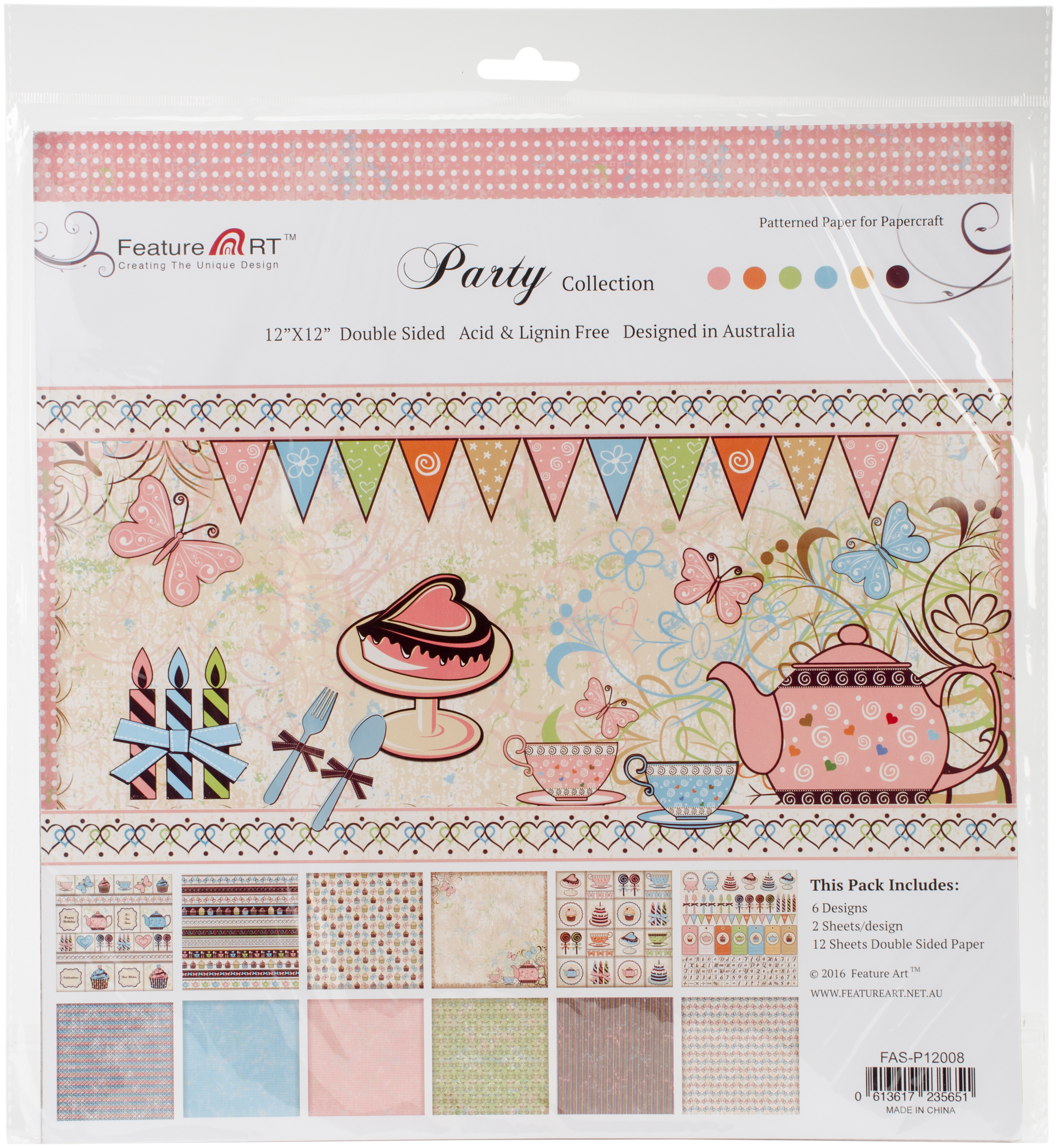 6 DESIGNS -PARTY PAPER PAD 12