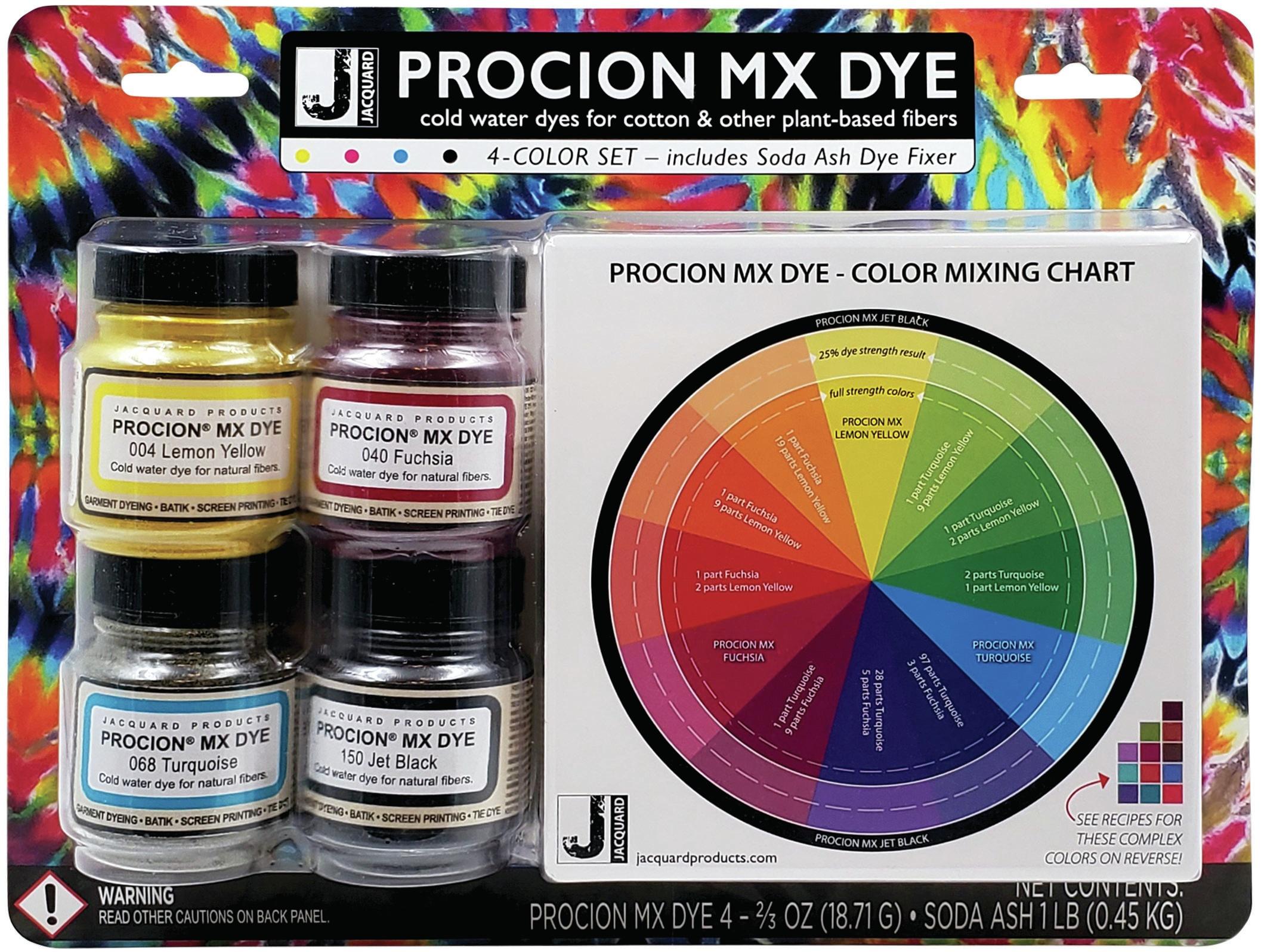 Jacquard Procion MX Dye Set-4 Colors W/ Soda Ash