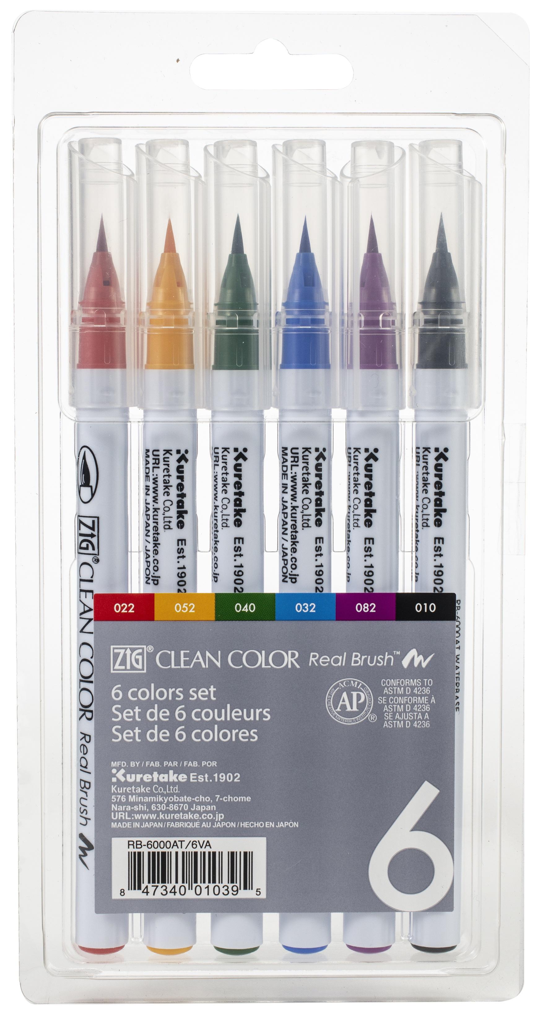 Kuretake ZIG Clean Color Real Brush Markers 6/Pkg-
