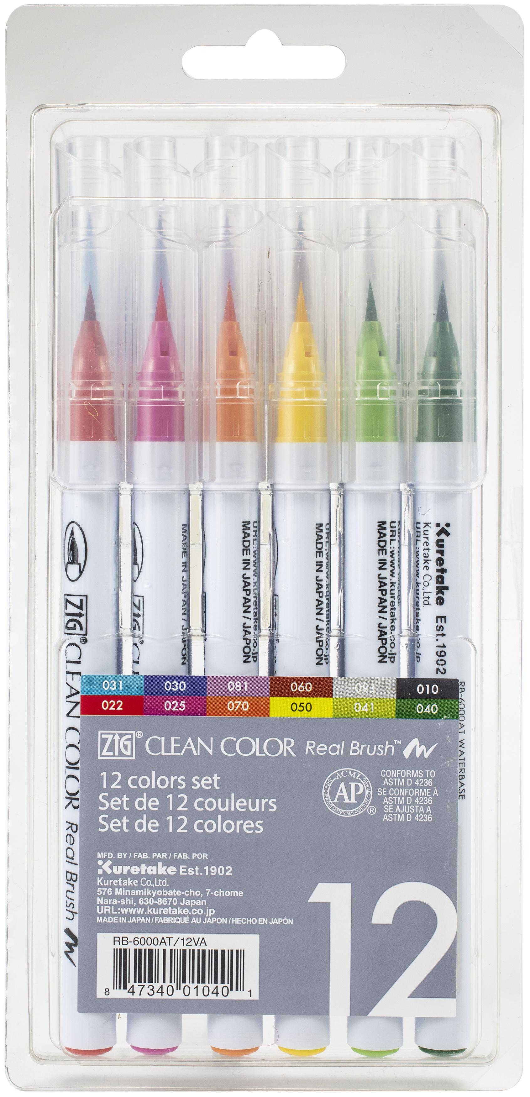 Kuretake ZIG Clean Color Real Brush Markers 12/Pkg-