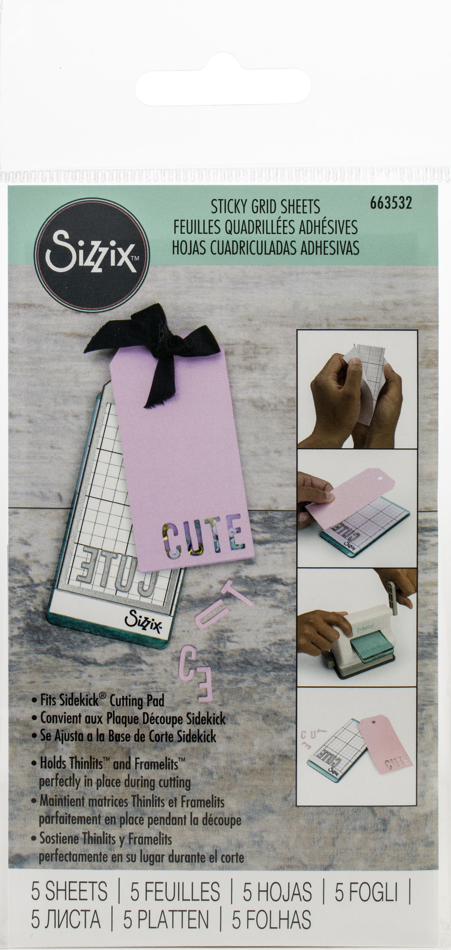Sizzix Sidekick Sticky Grid 2.5X4.75 5/Pkg-