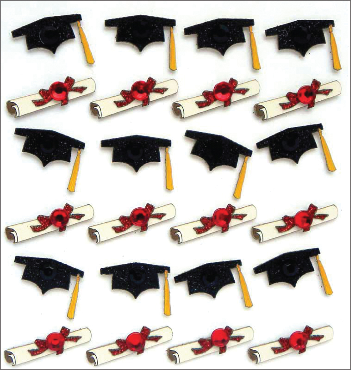 Grad Cap & Diploma 3D Stickers