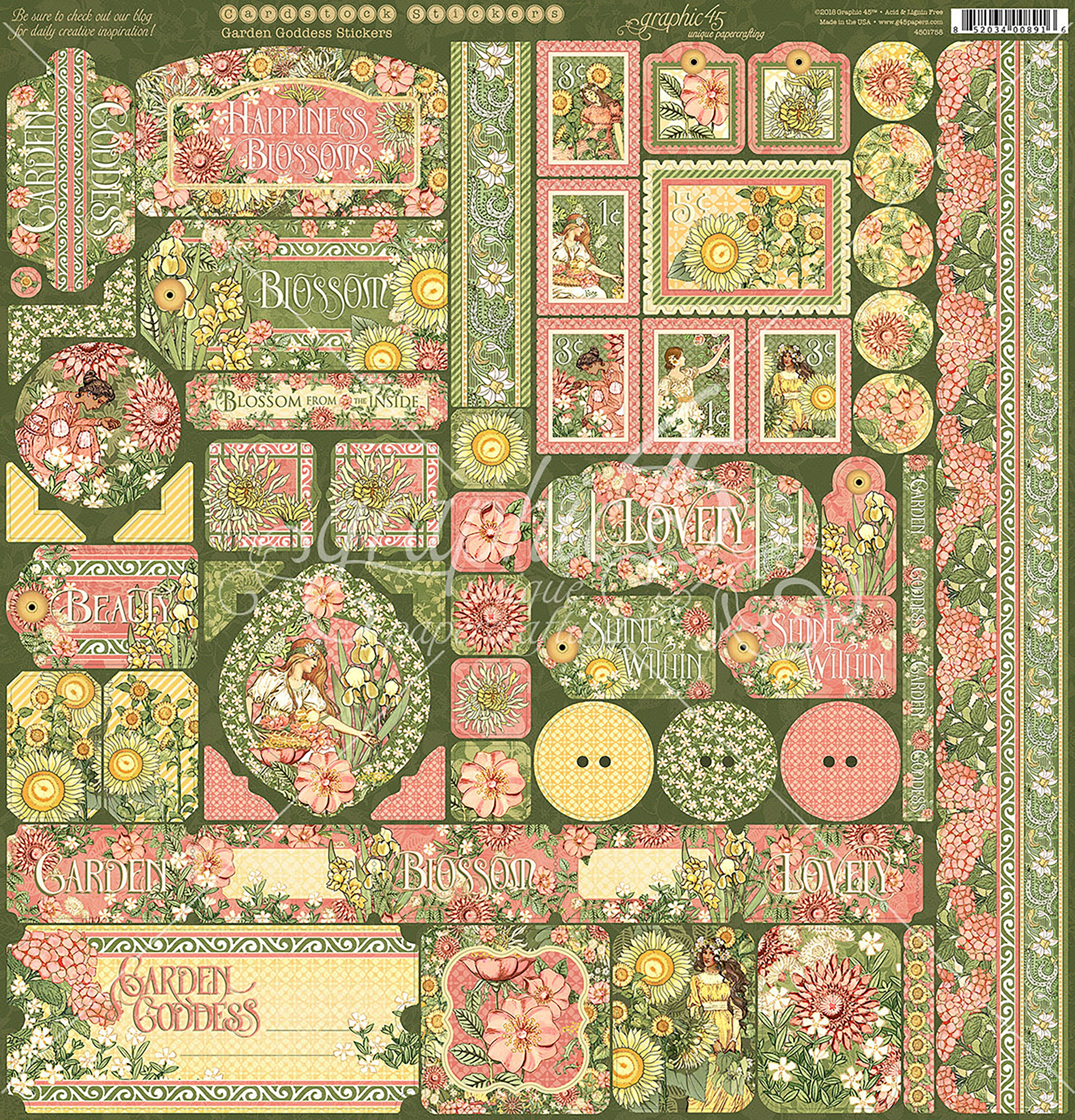 ^Graphic 45 - Garden Goddess - 12x12 Cardstock Stickers