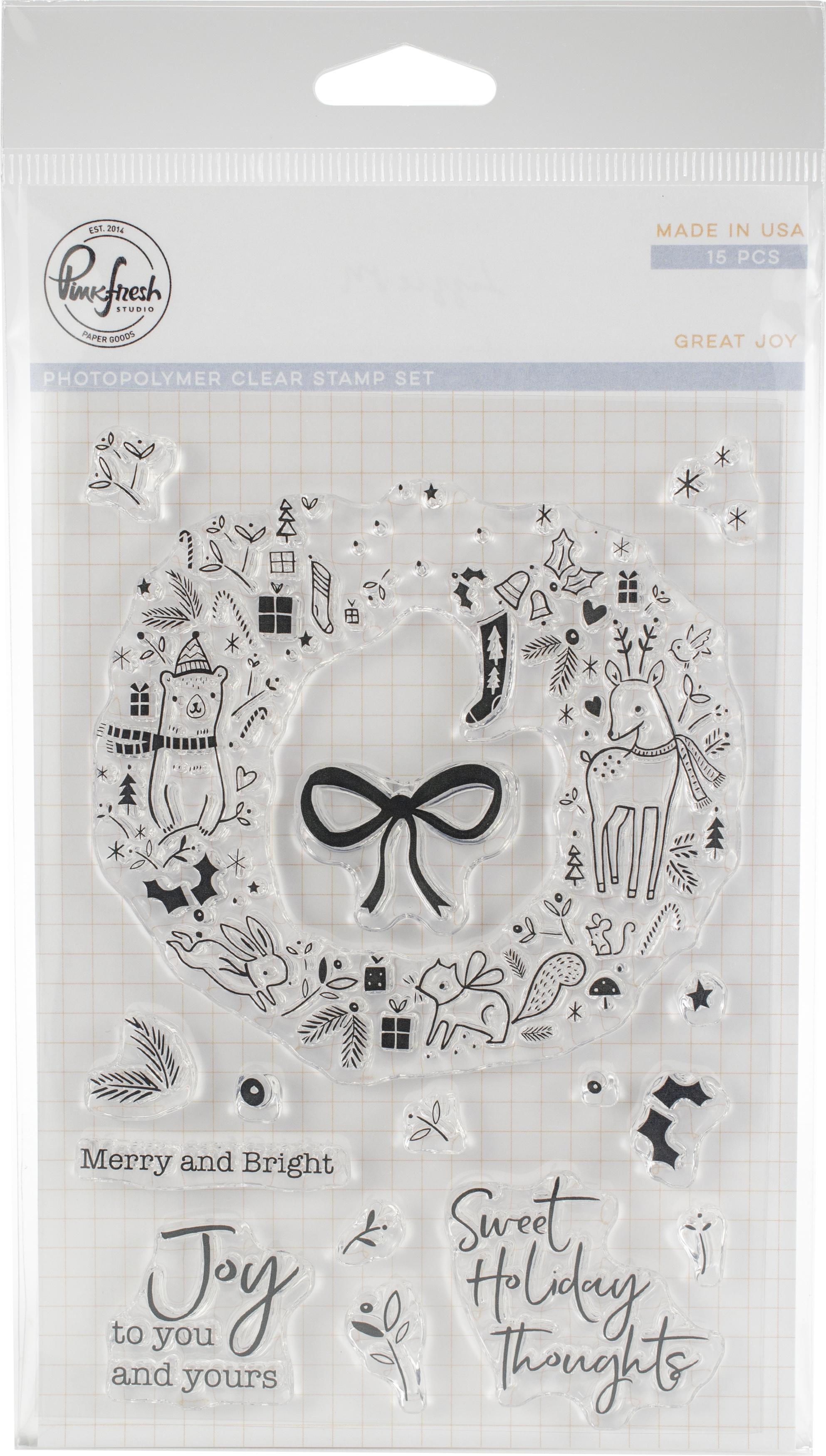 Pinkfresh Studio Clear Stamp Set 4X6-Great Joy