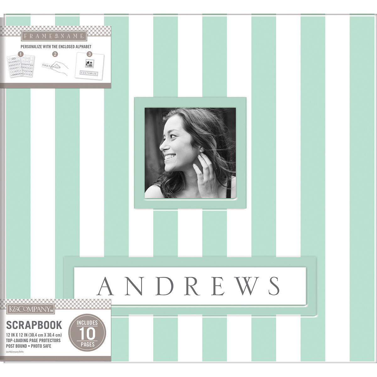 K&Company Frame-A-Name Post Bound Album 12X12-Mint Wide Stripe