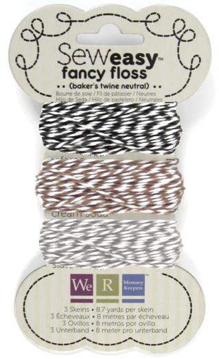 We R Sew Easy Fancy Floss 8.7yd Ea 3/Pkg-Neutrals