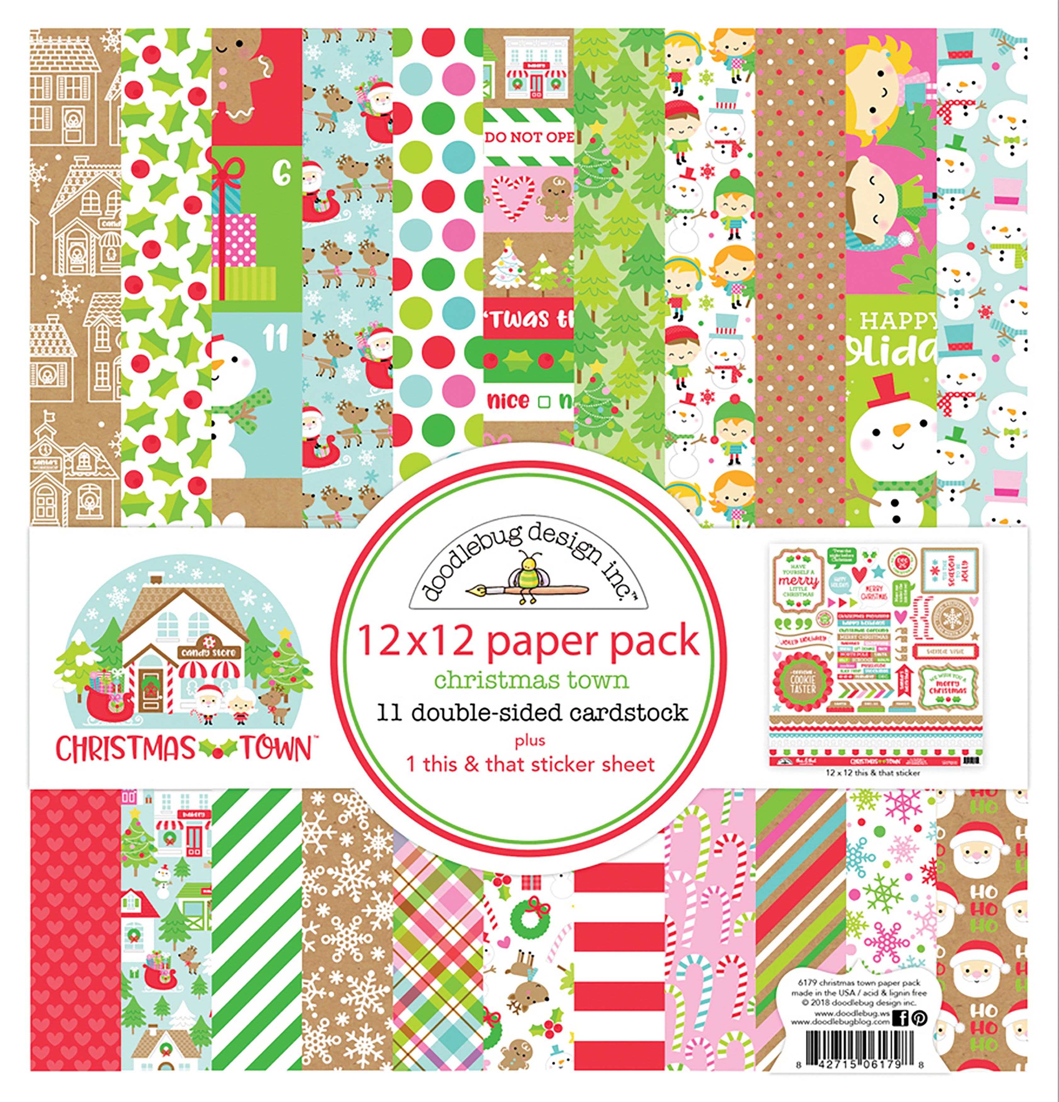 Doodlebug - Christmas Town Collection - 12x12 Paper Pack